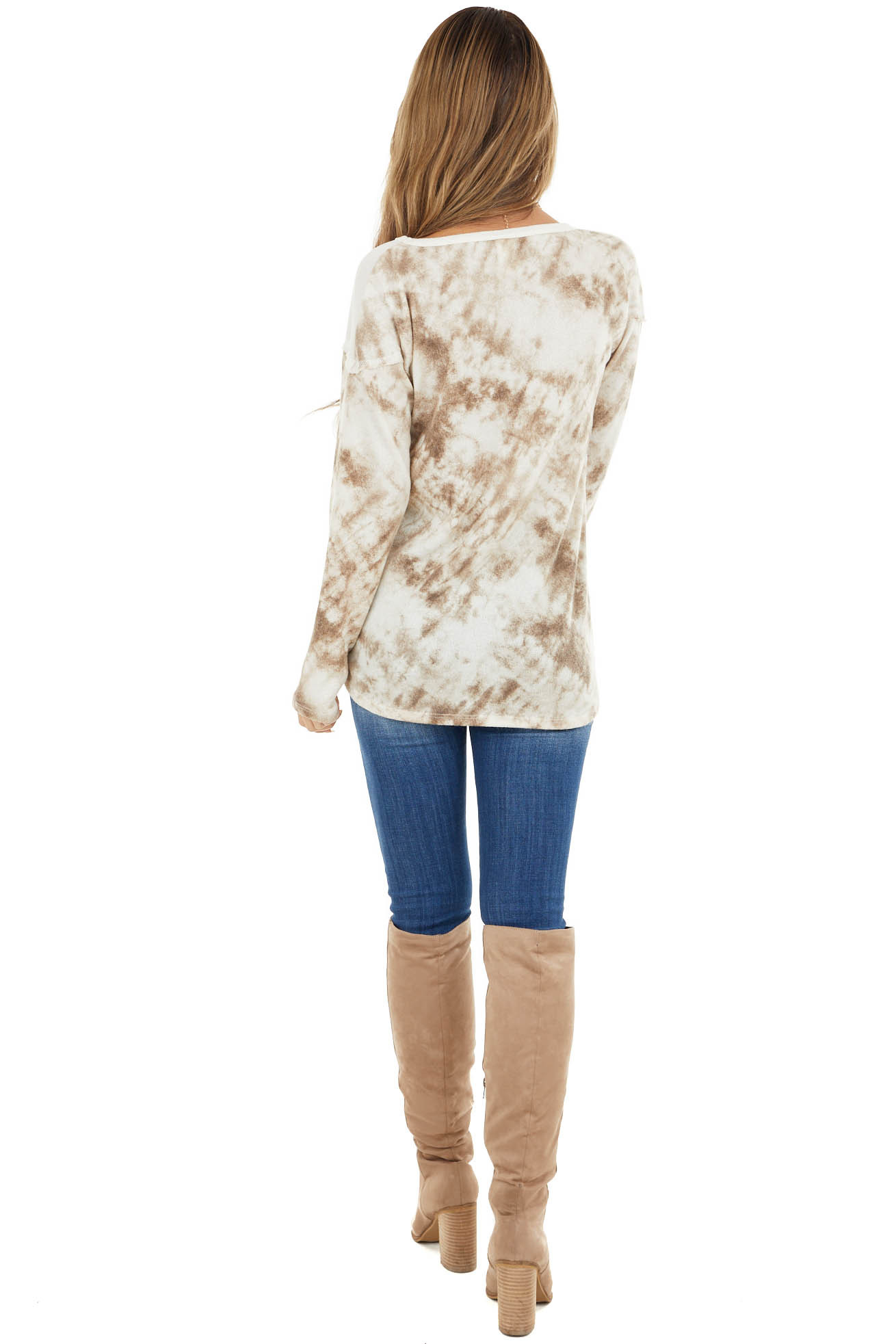 Ivory and Taupe Tie Dye Color Block Long Sleeve Top
