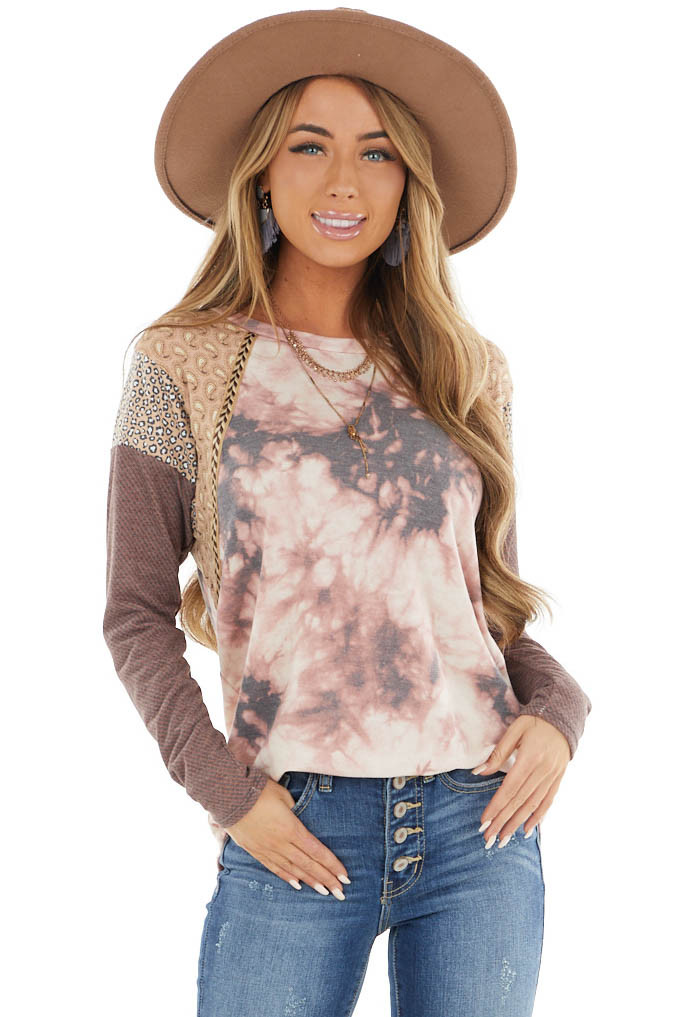 Mauve Tie Dye Top with Multiprint and Braided Detail Sleeves