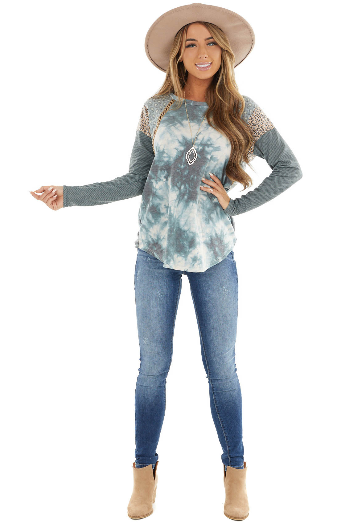 Teal Tie Dye Top with Multiprint and Braided Detail Sleeves