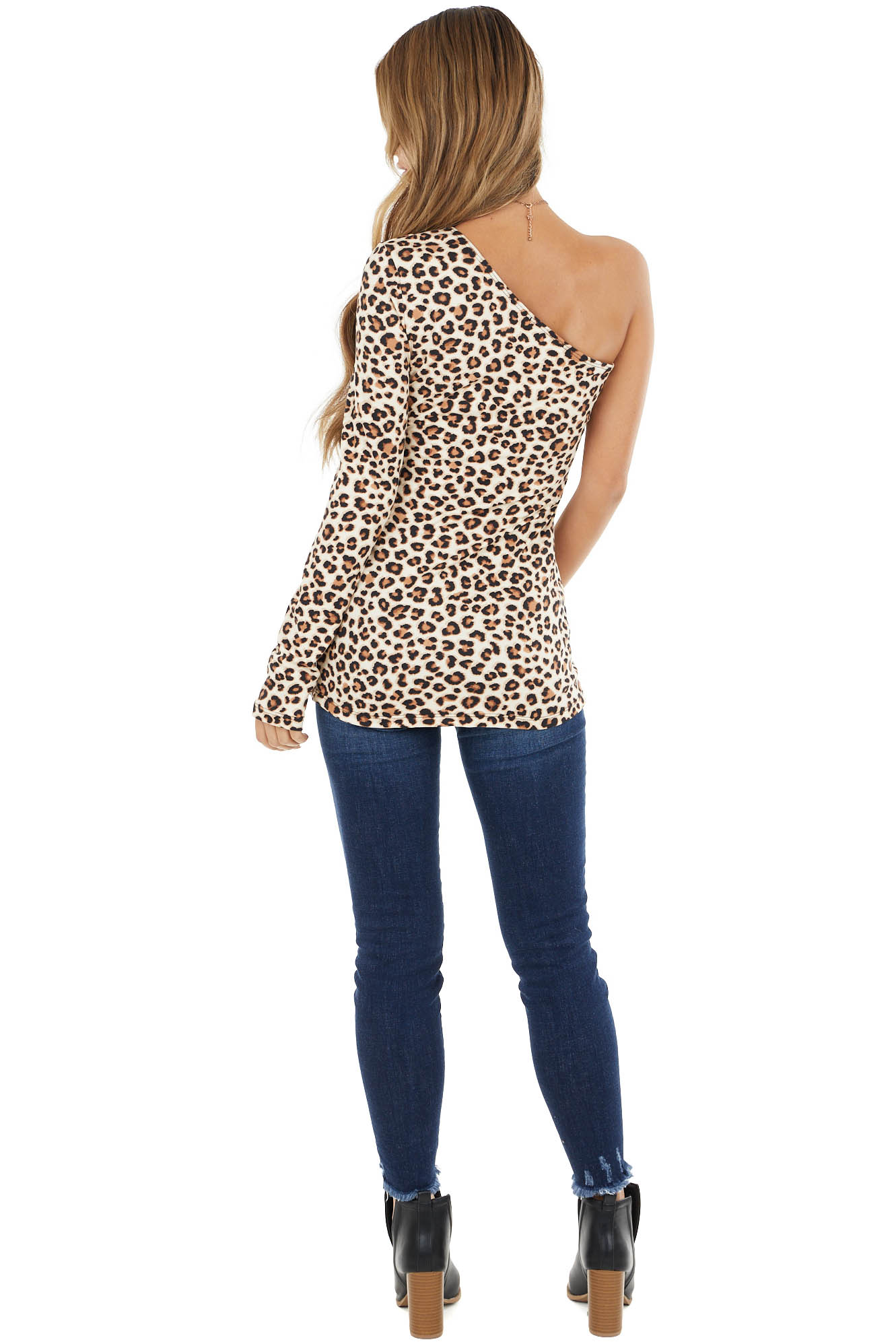 Cream Leopard Print One Shoulder Soft Knit Long Sleeve Top