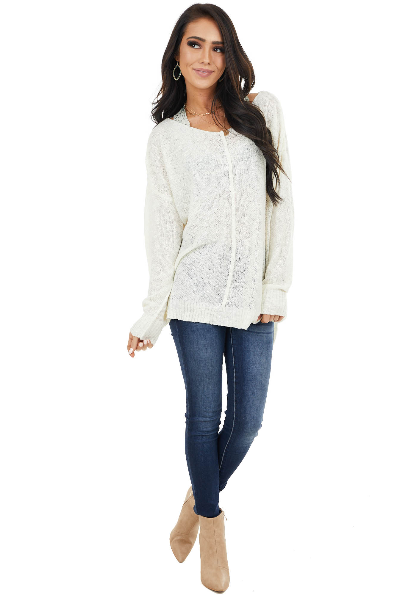 Ivory Light Sweater with Front and Back Seam Detail