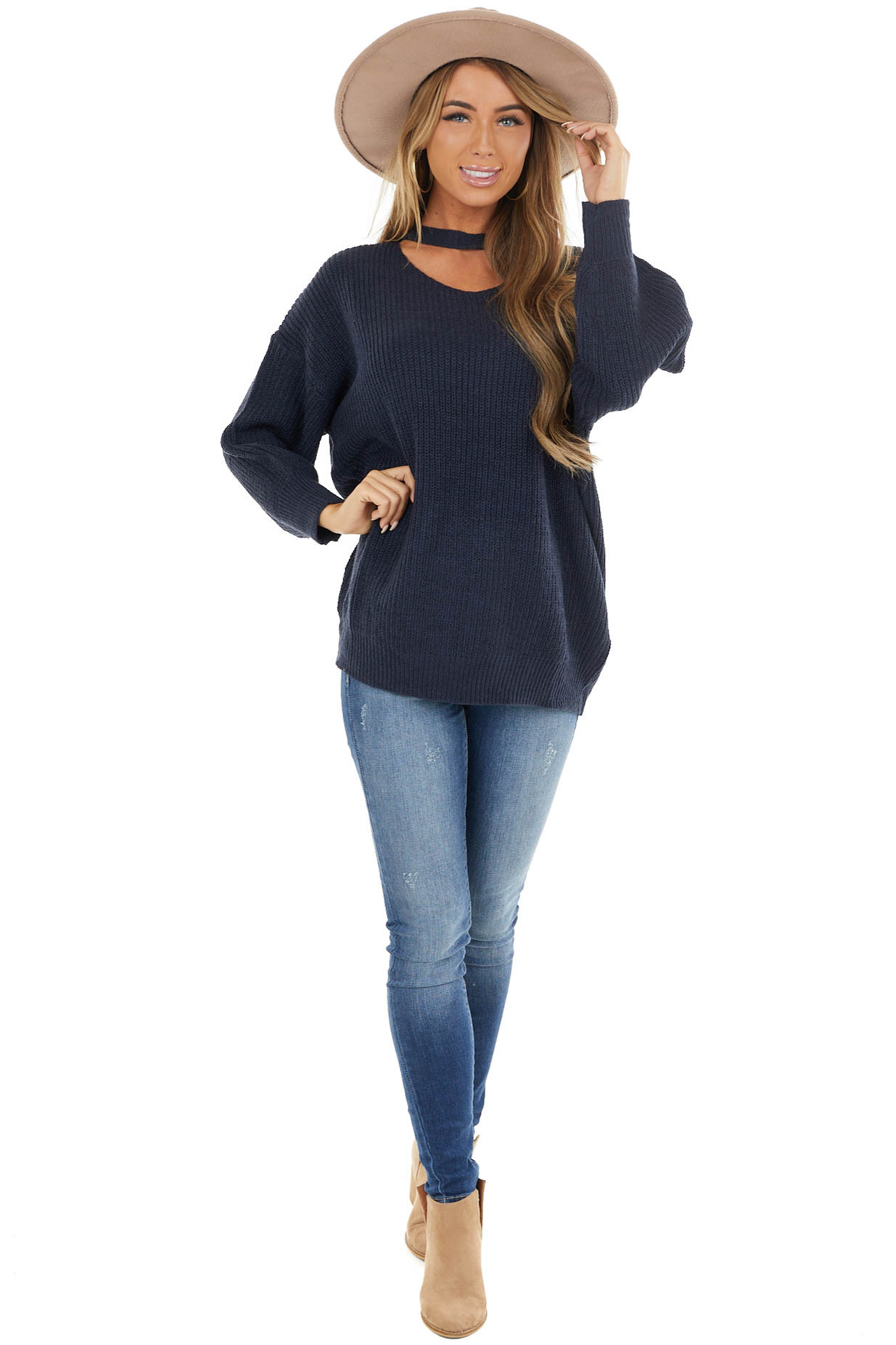 Navy Choker Neckline Knit Sweater with Bubble Sleeves