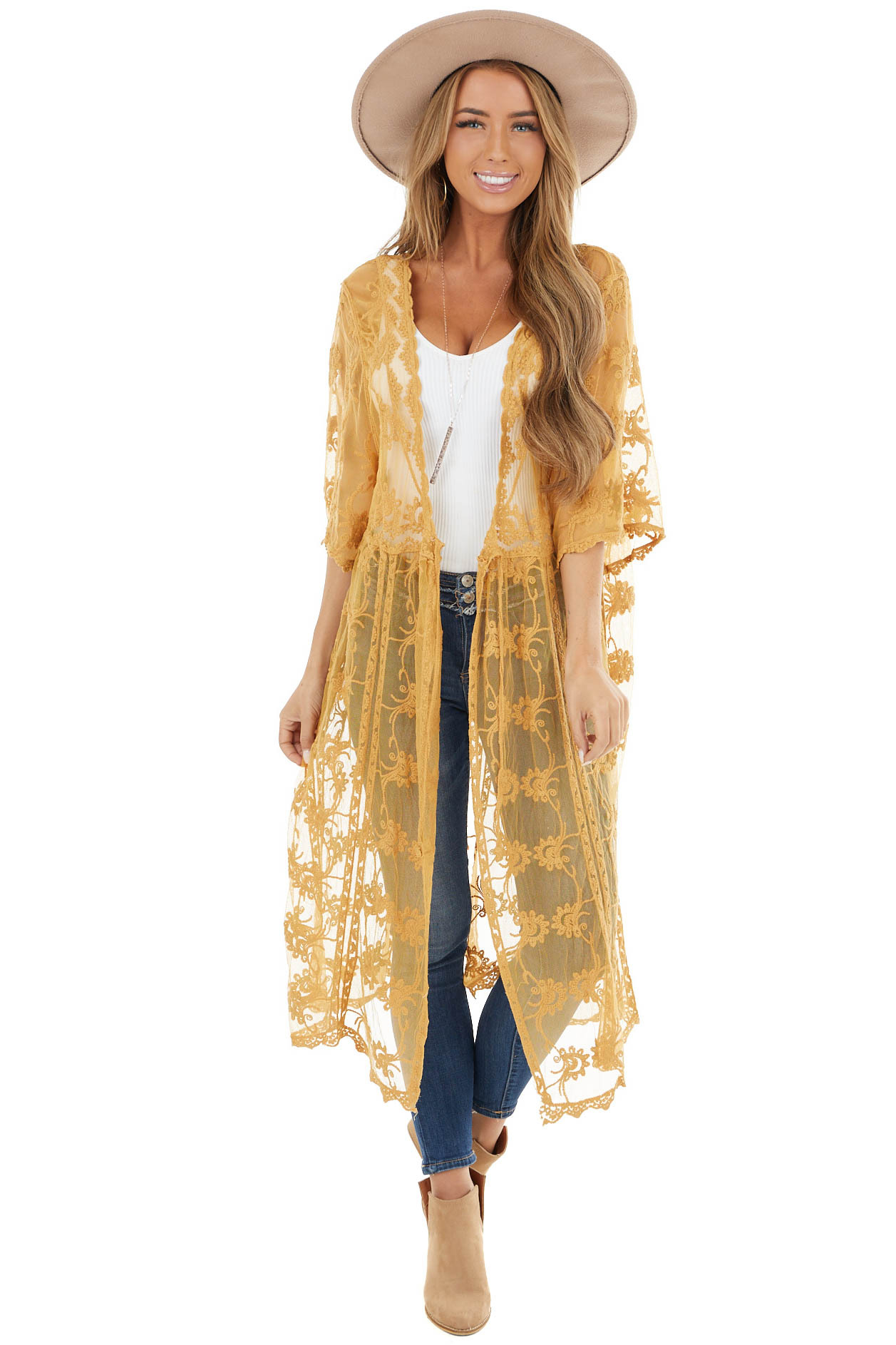 Light Amber Crotched Lace Kimono with Short Sleeves