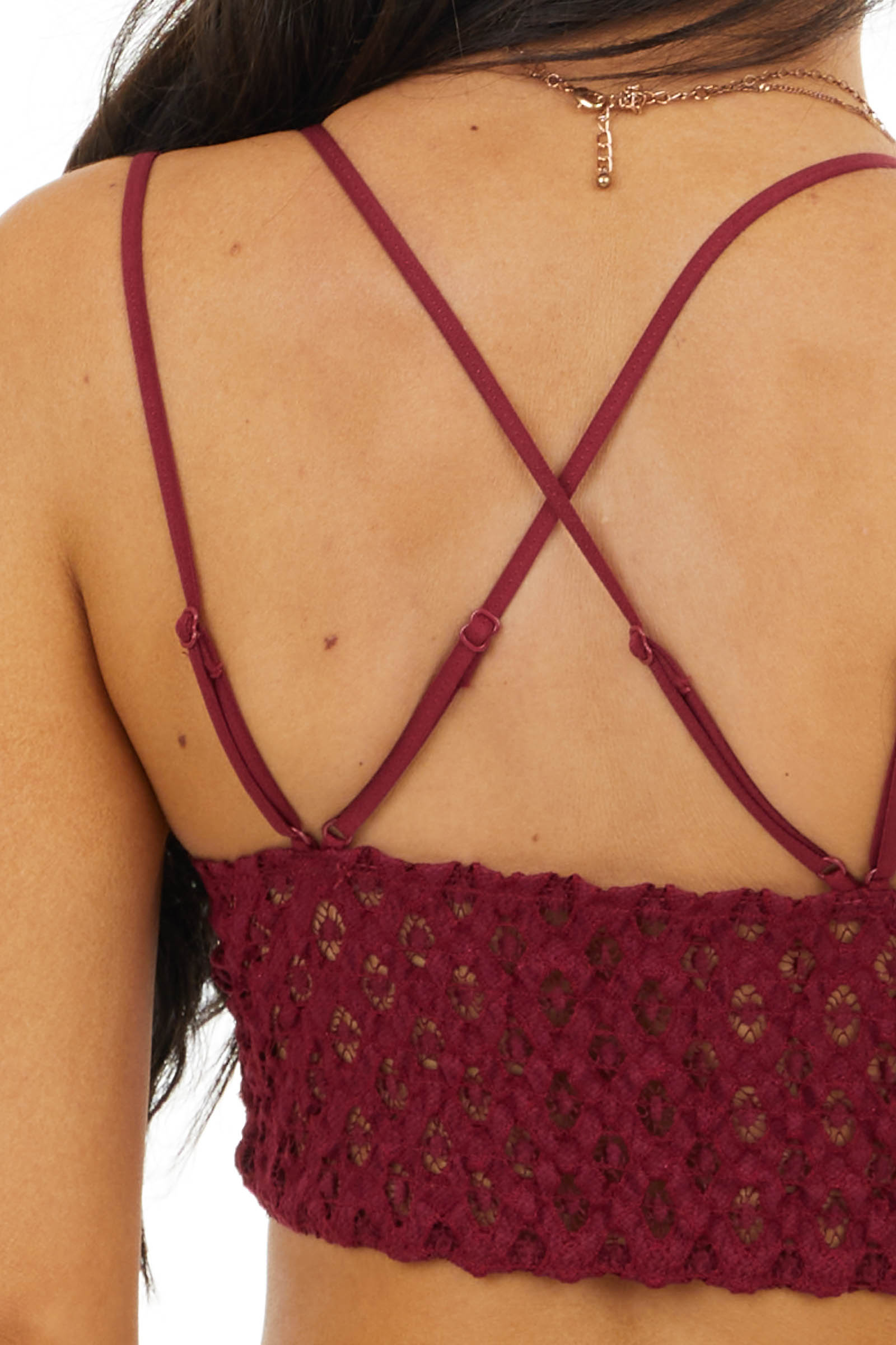 Wine Lace Bralette with Dual Criss Cross Straps