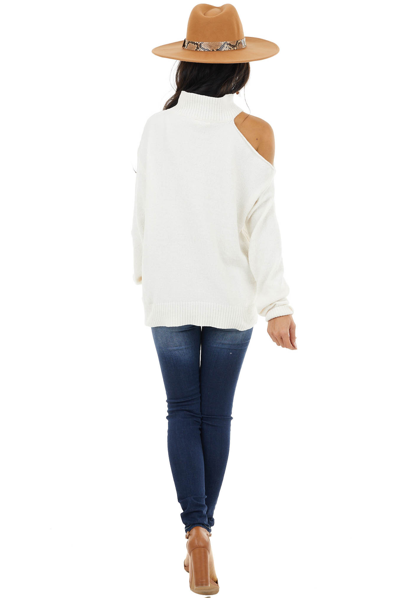 Ivory Cold Shoulder Chenille Sweater with Long Sleeves