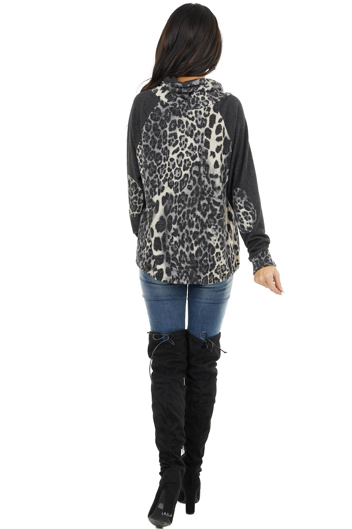 Charcoal and Cream Leopard Raglan Sleeve Cowl Neck Top