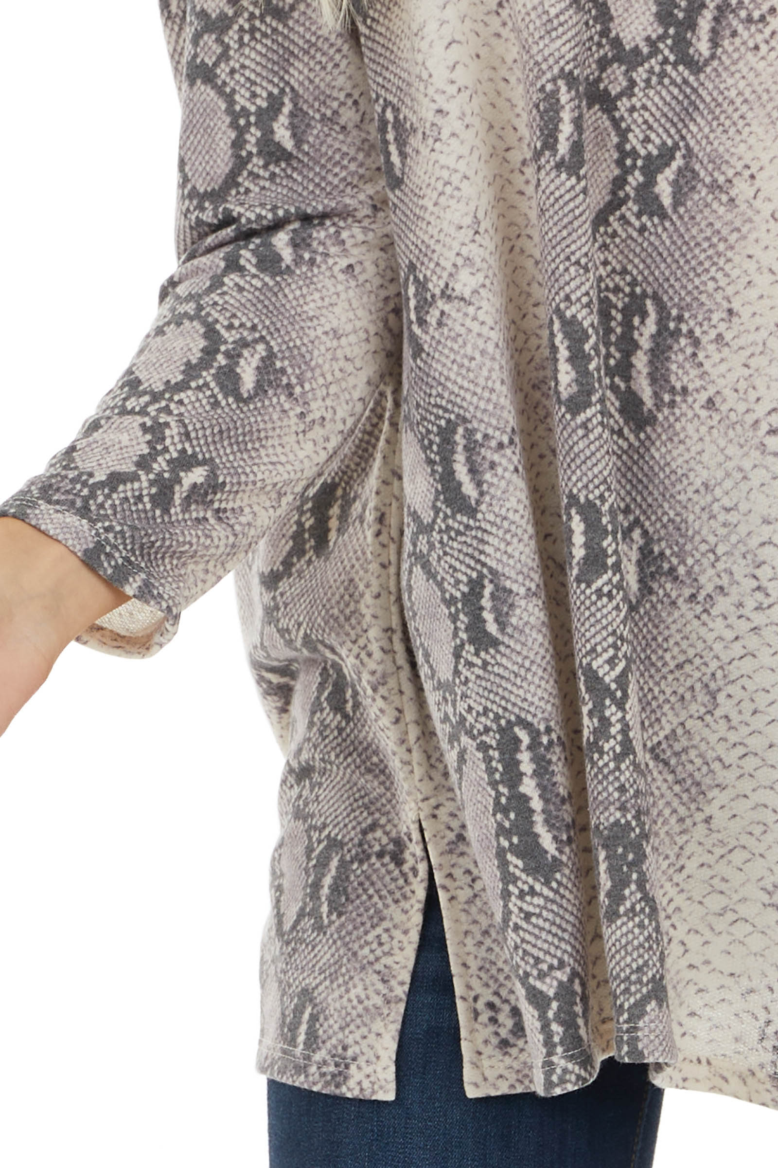 Charcoal and Light Indigo Snakeskin Print Stretchy Knit Top