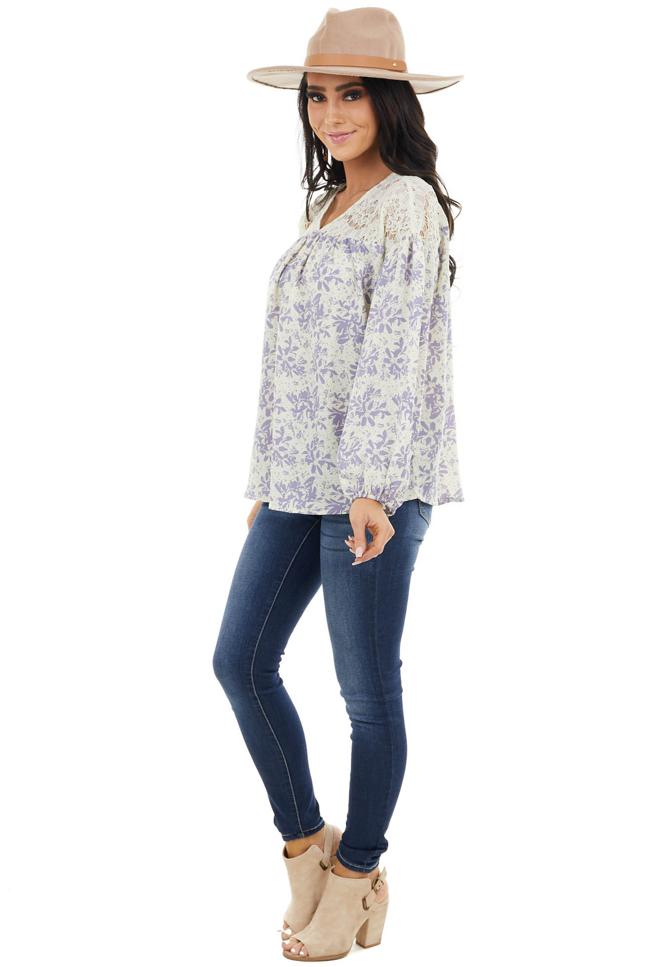 Lavender and Straw Floral Puff Sleeve Blouse with Lace