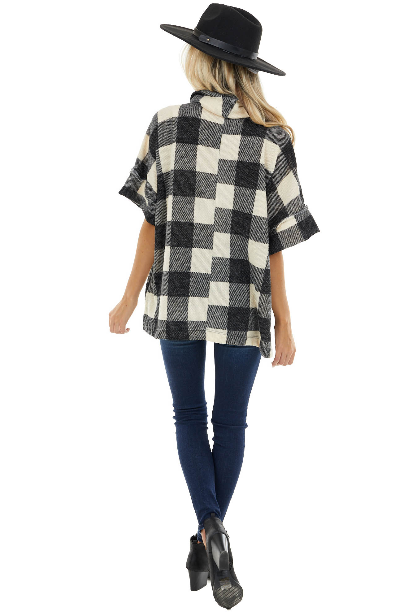 Charcoal and Cream Buffalo Plaid Oversize Top with Cowl Neck