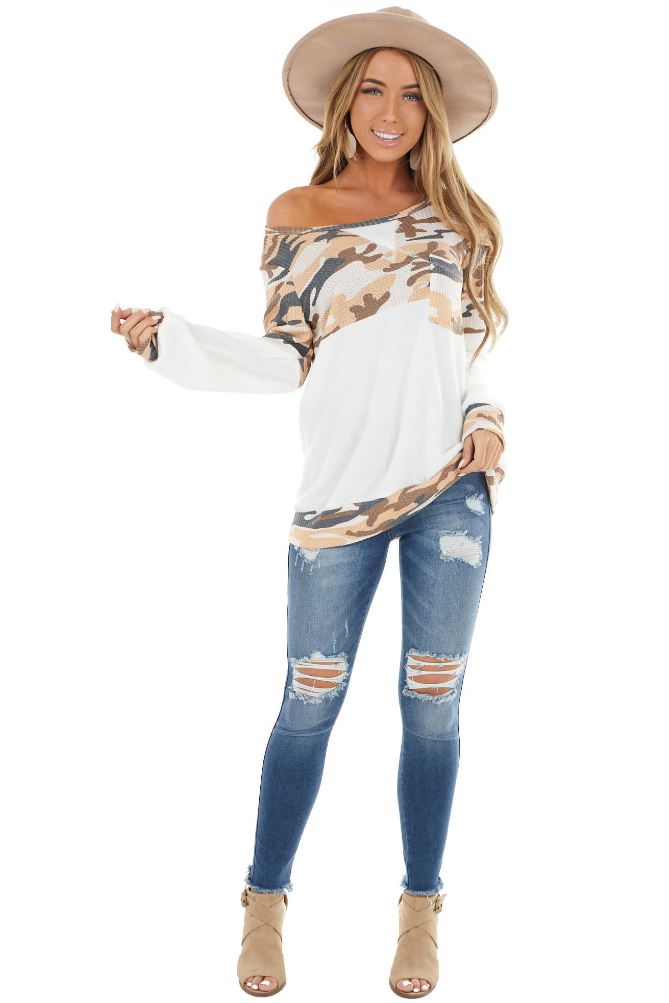 Ivory Long Sleeve Top with Desert Sand Camo Print Contrasts