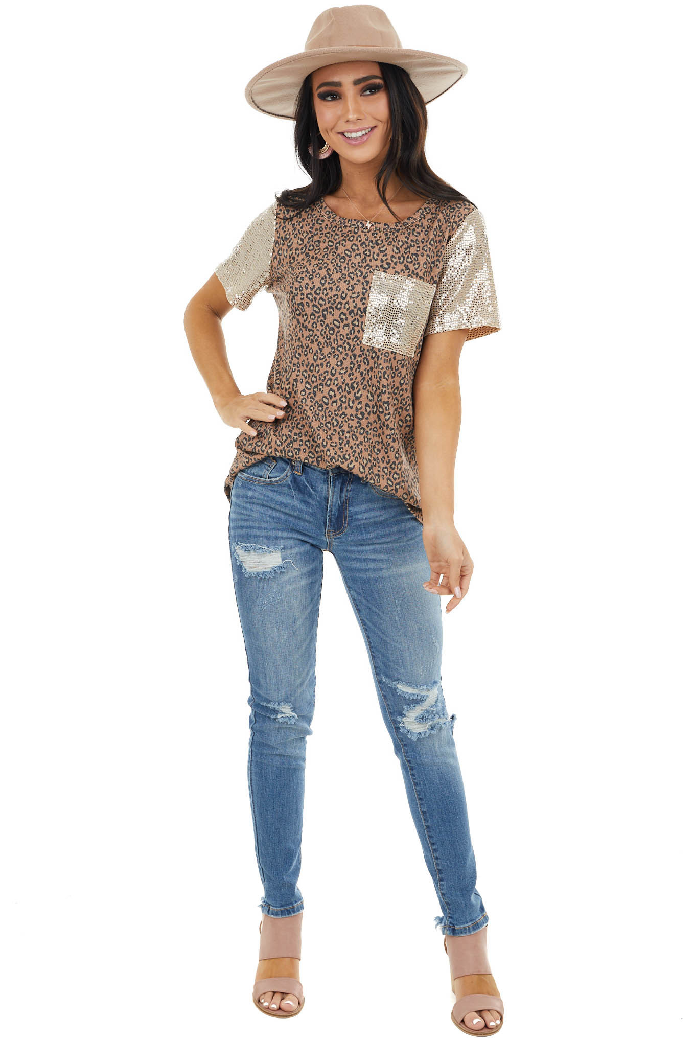 Camel Leopard Print Top with Sequin Sleeves and Pocket