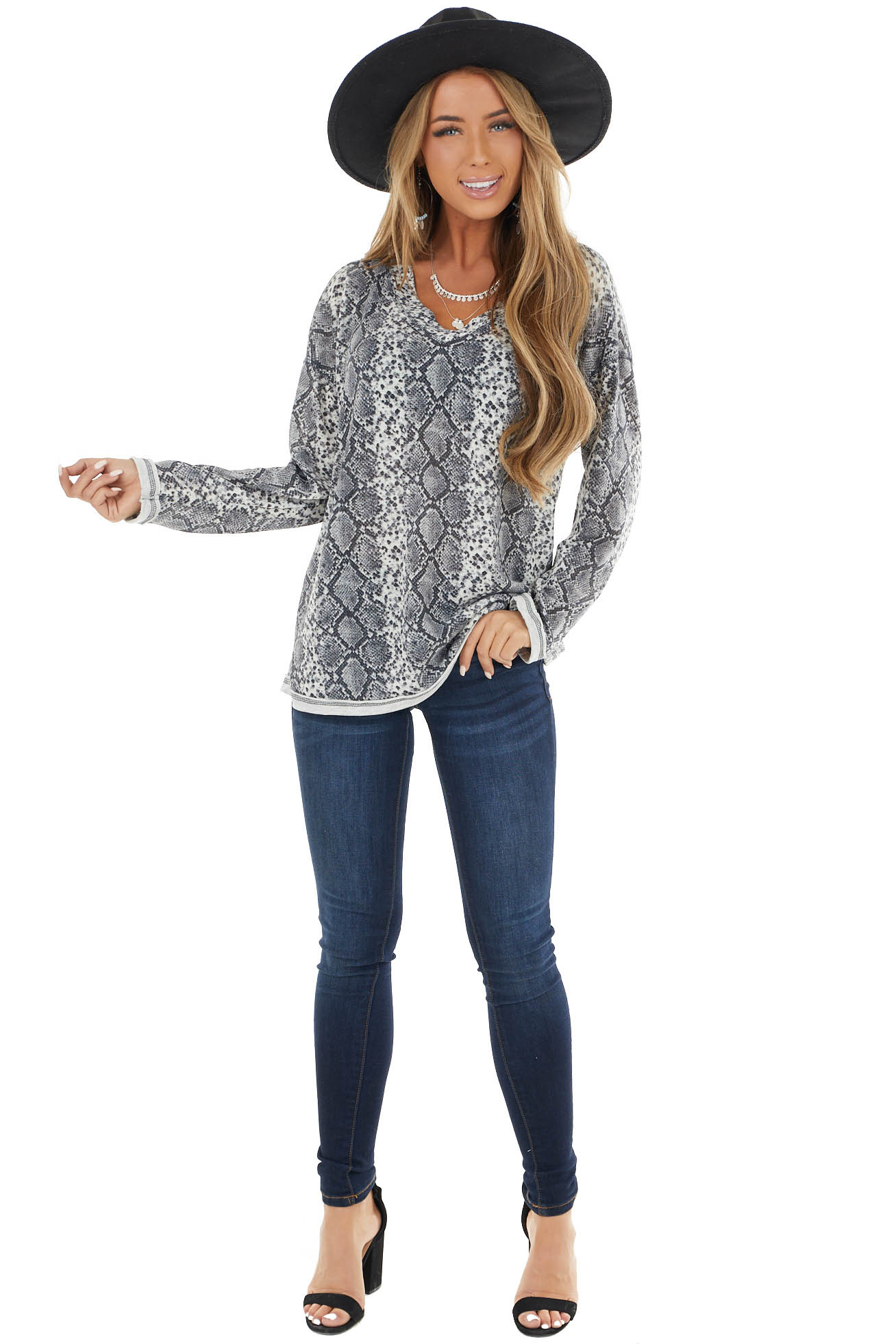 Stone Grey Long Sleeve Snake Print Top with Raw Seam Details