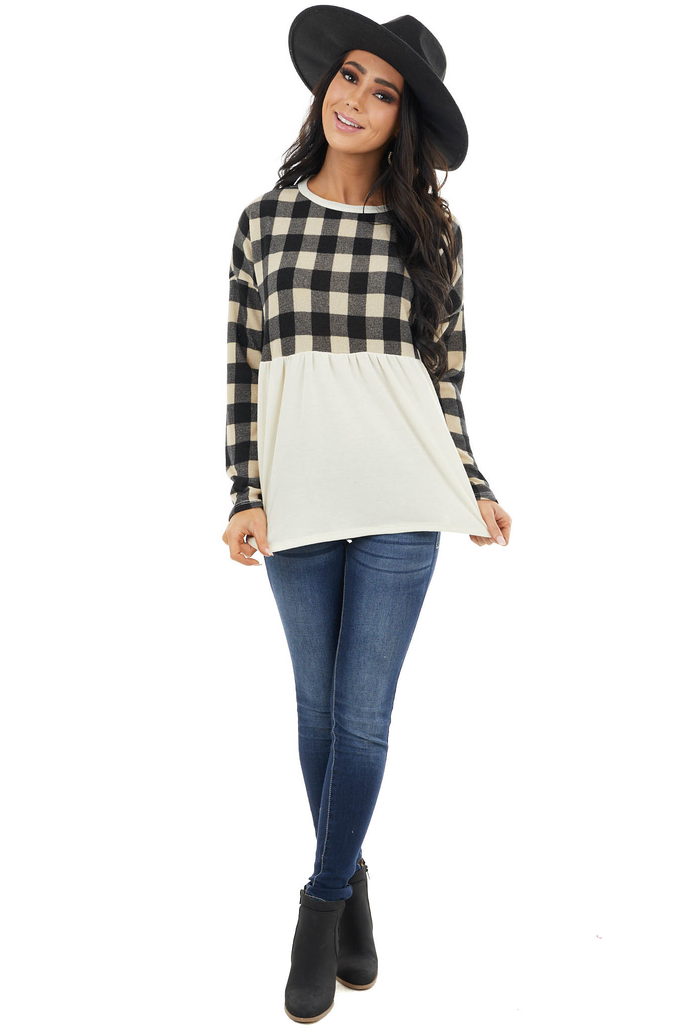 Black and Cream Buffalo Plaid Babydoll Top with Long Sleeves