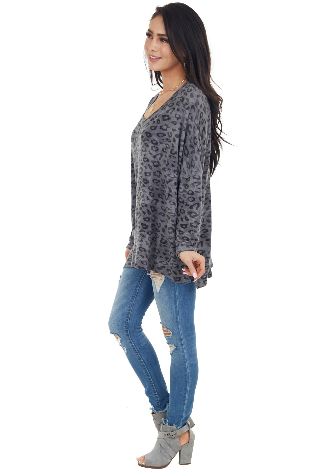 Stone Grey Leopard Print Oversized Top with Long Sleeves