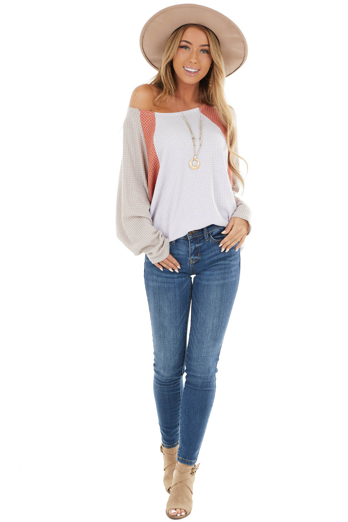 Pale Lavender Color Block Oversized Top with Long Sleeves