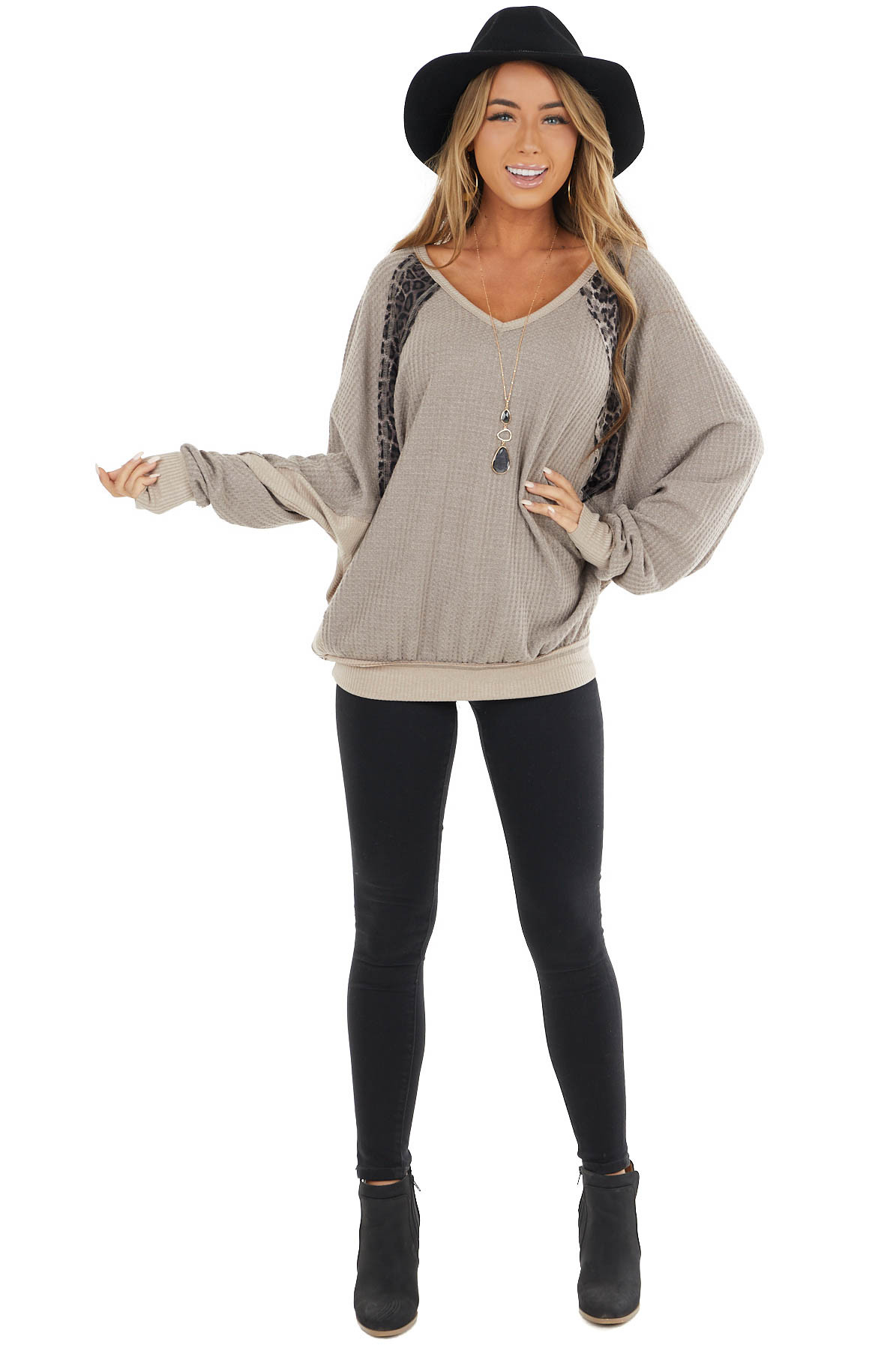 Taupe Waffle Knit Oversize Top with Leopard Print Contrasts