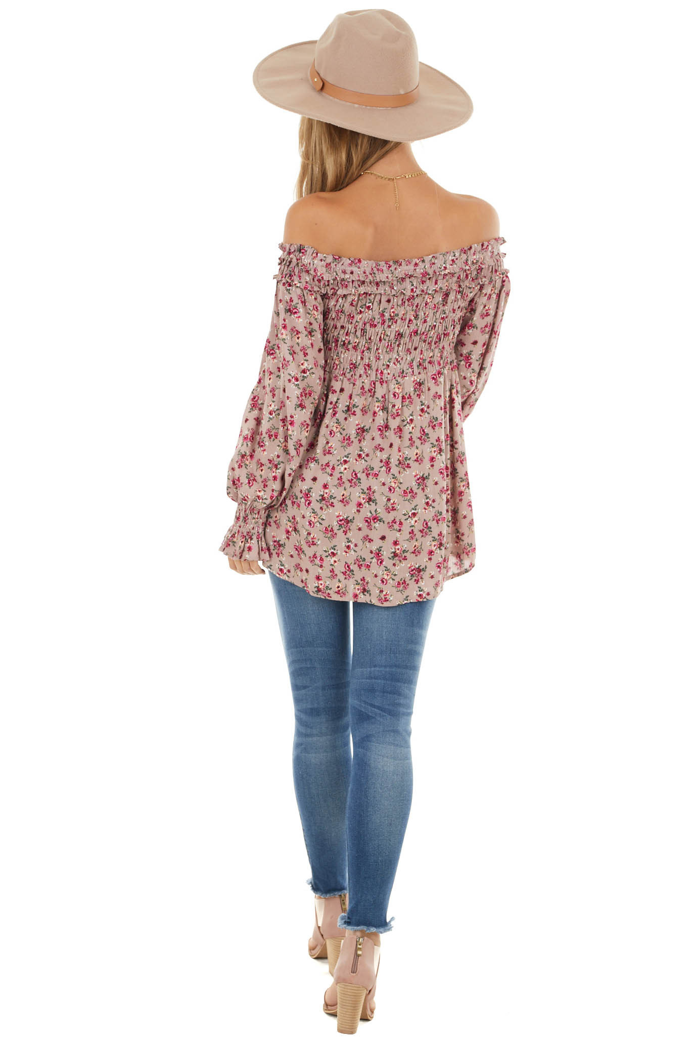 Dusty Mauve Floral Print Off Shoulder Top with Smocked Bust