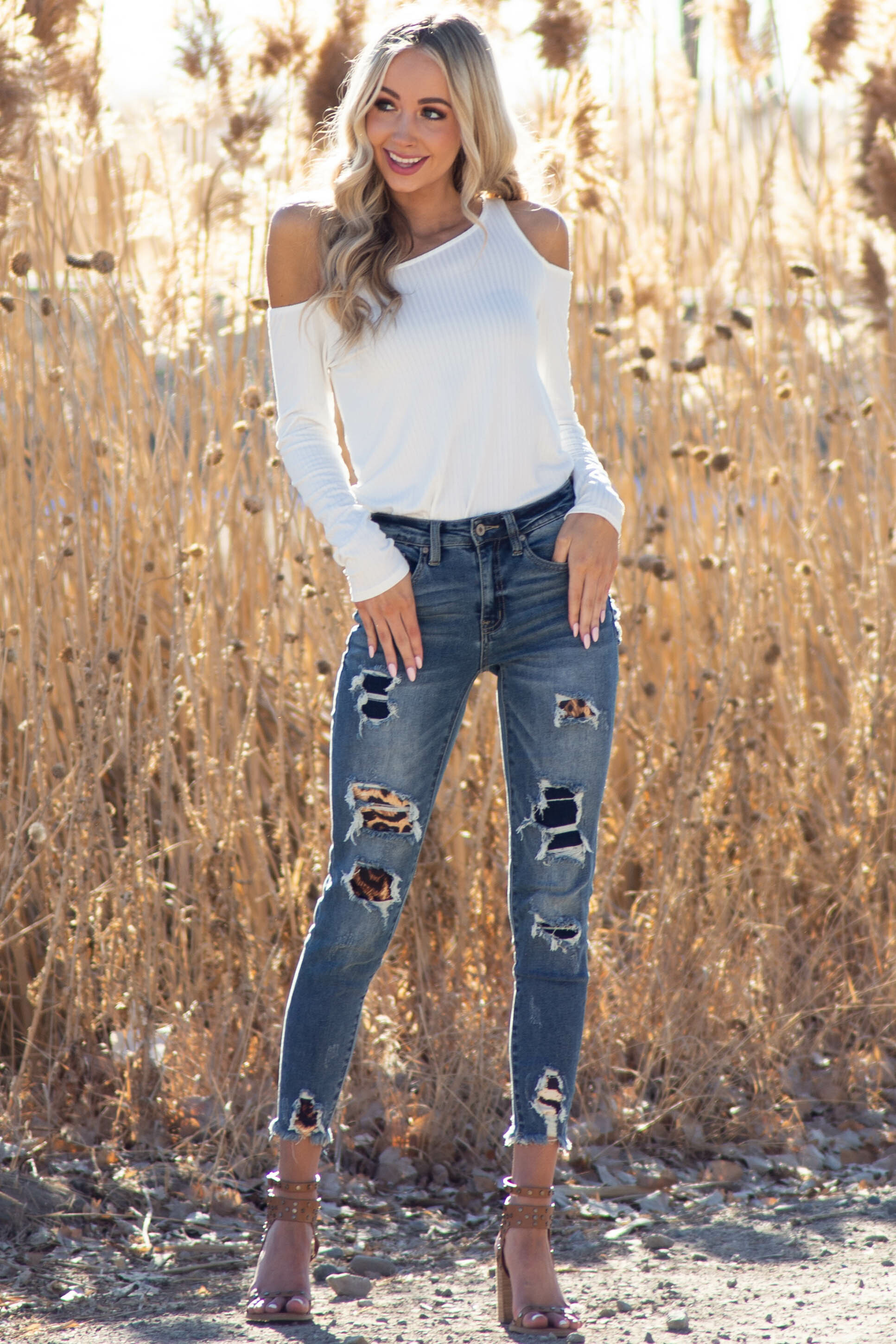 Dark Wash High Rise Distressed Leopard Patch Skinny Jeans