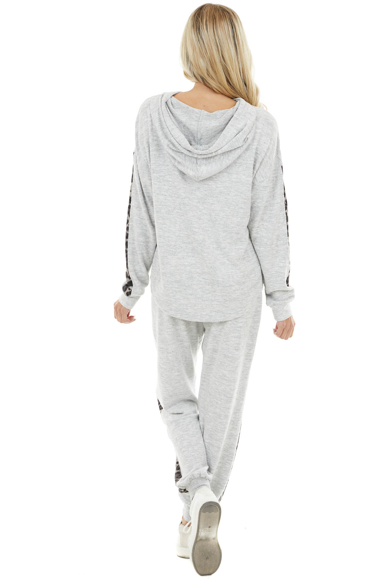 Heather Grey and Leopard Print Hoodie and Joggers Lounge Set