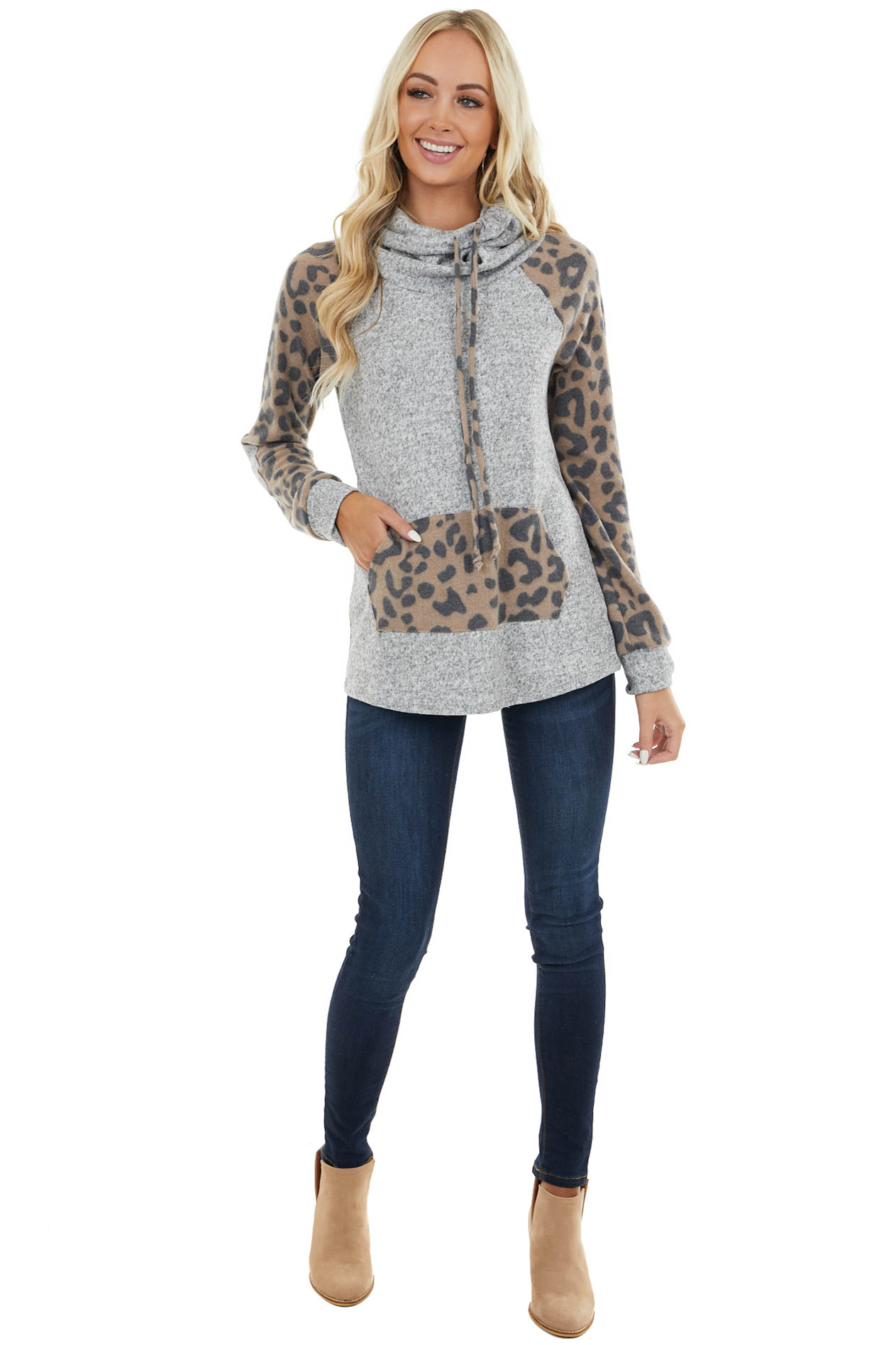 Dove Grey and Leopard Cowl Neck Top with Elbow Patch Details