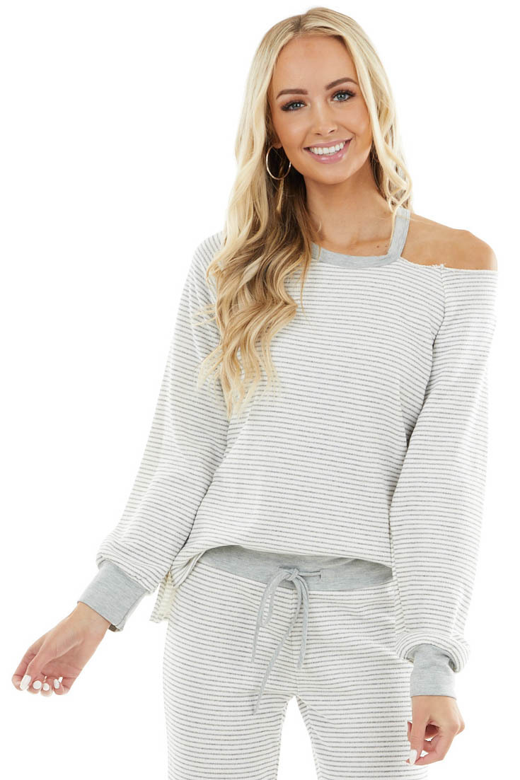 Heather Grey and Ivory Striped Top with Cold Shoulder