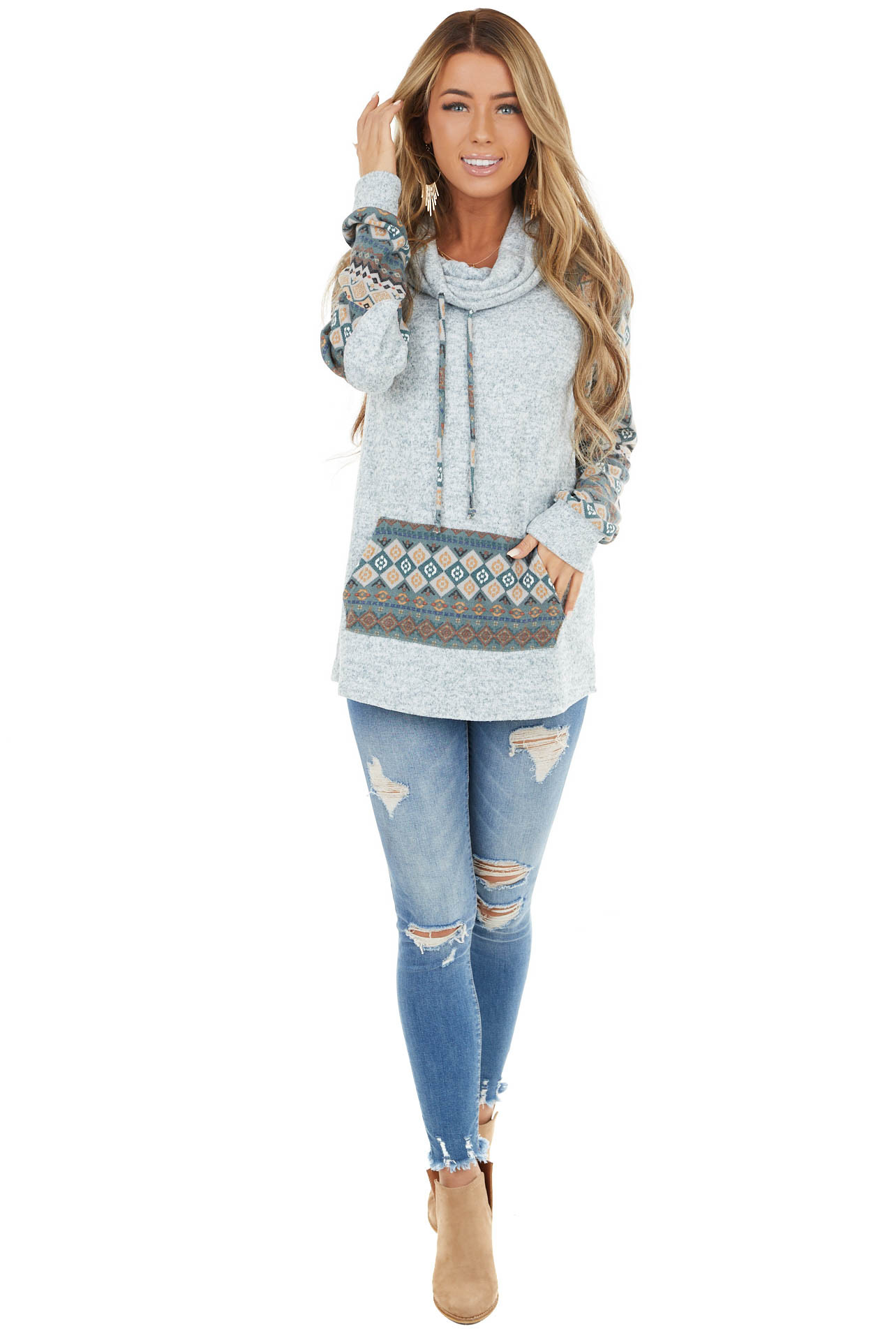 Heathered Teal Printed Cowl Neck Top with Elbow Patches
