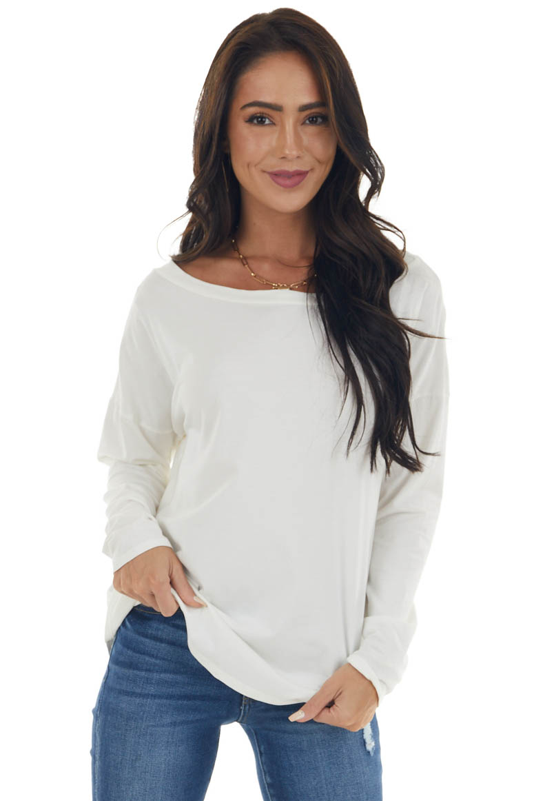 Off White Lightweight Stretchy Knit Top with Long Sleeves