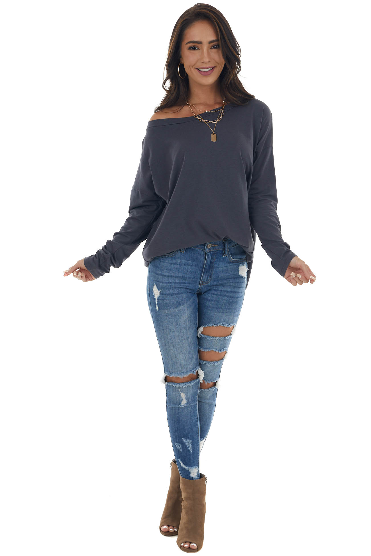 Stormy Blue Lightweight Stretchy Knit Top with Long Sleeves