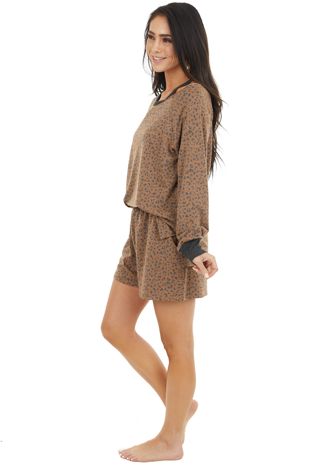Cognac and Charcoal Leopard Print Top with Cold Shoulder