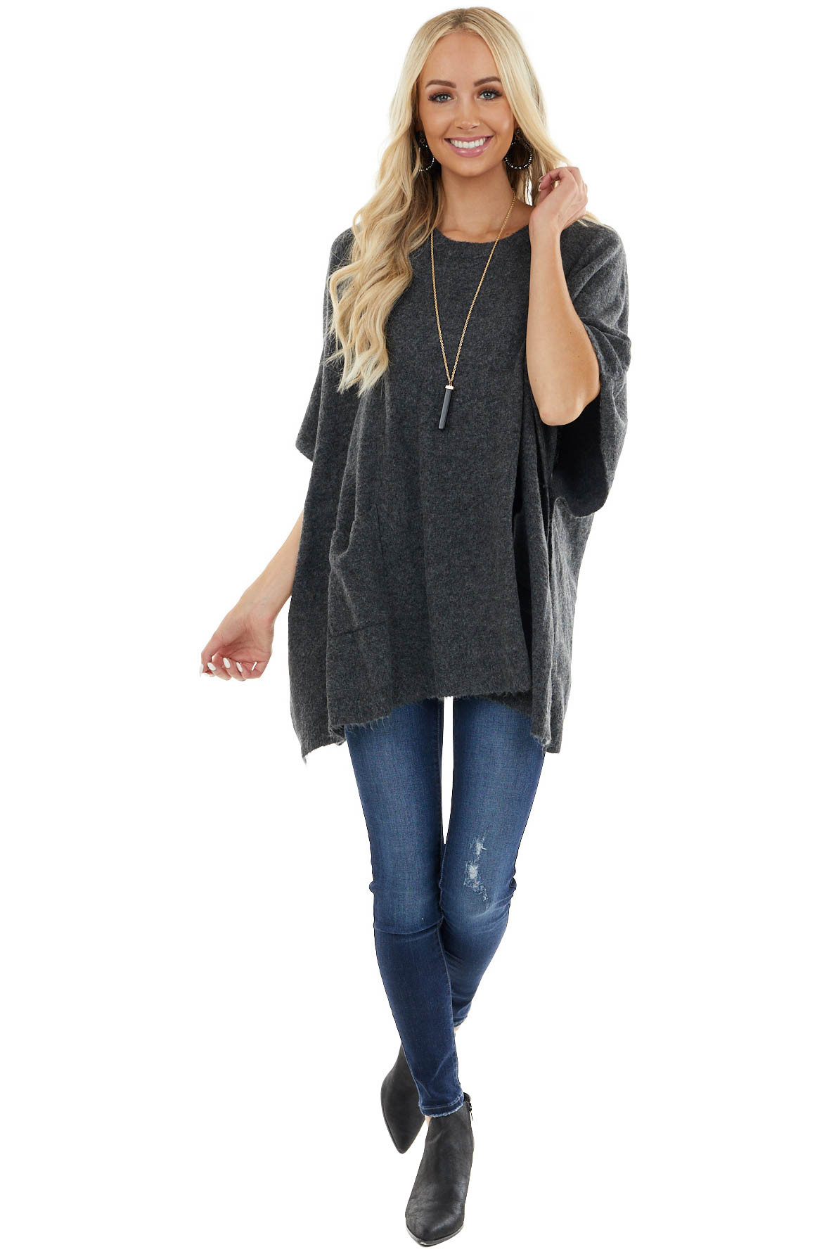 Stormy Grey Stretchy Knit Poncho Sweater with Front Pockets