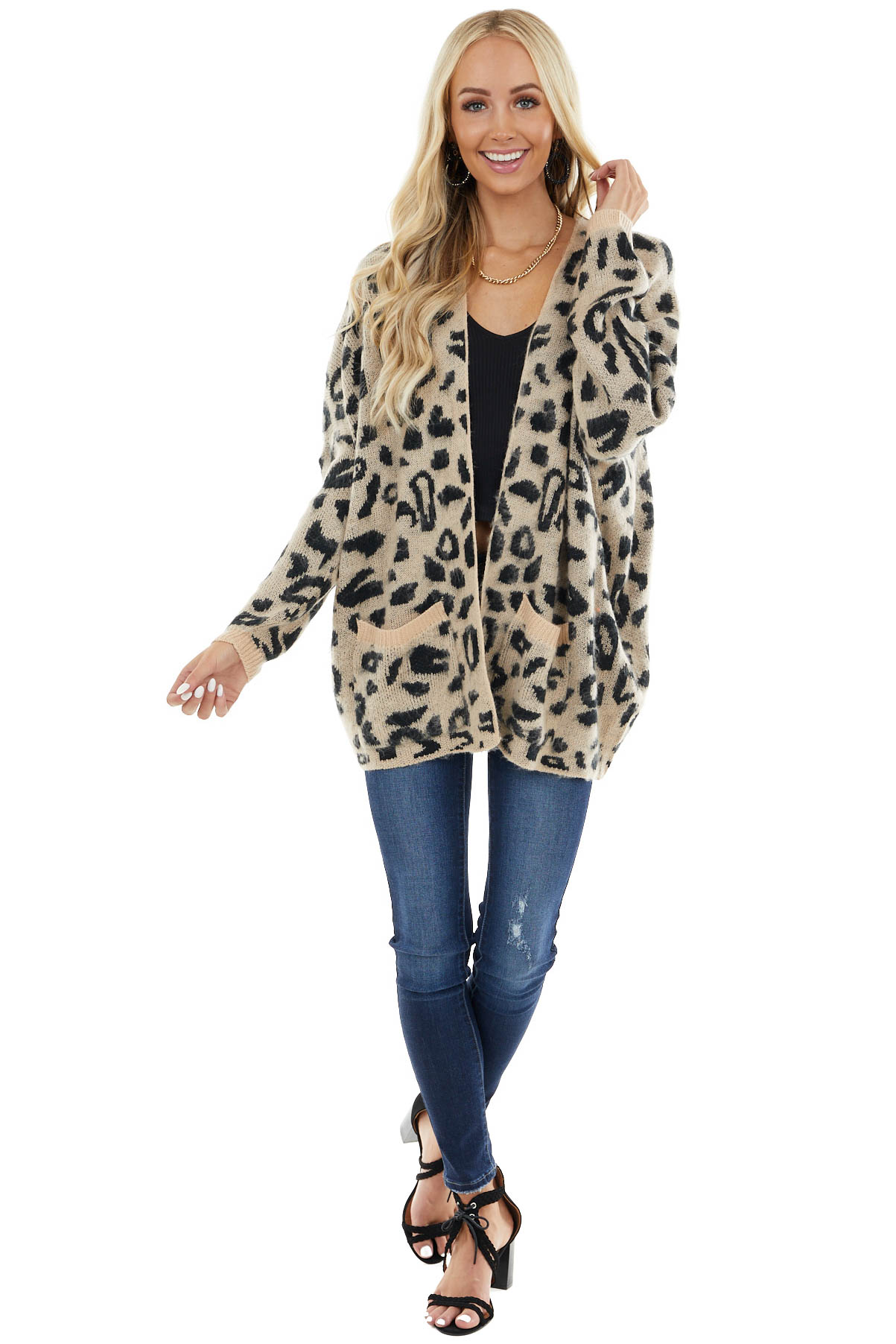 Desert Sand Leopard Print Open Front Cardigan with Pockets