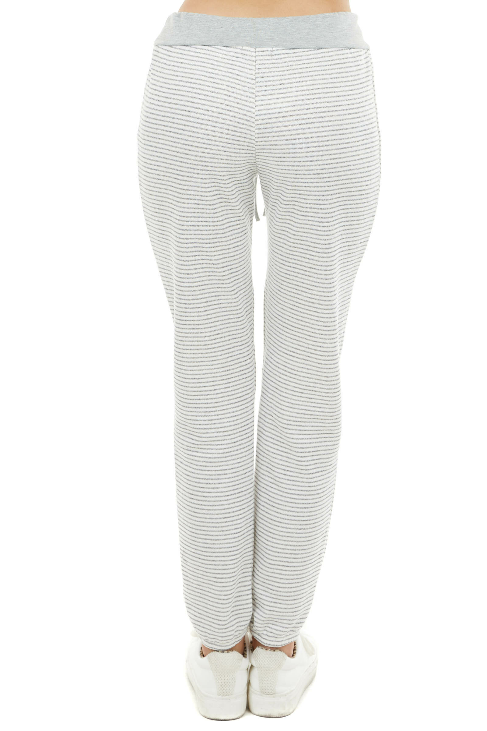 Heather Grey and Ivory Striped Jogger Pants