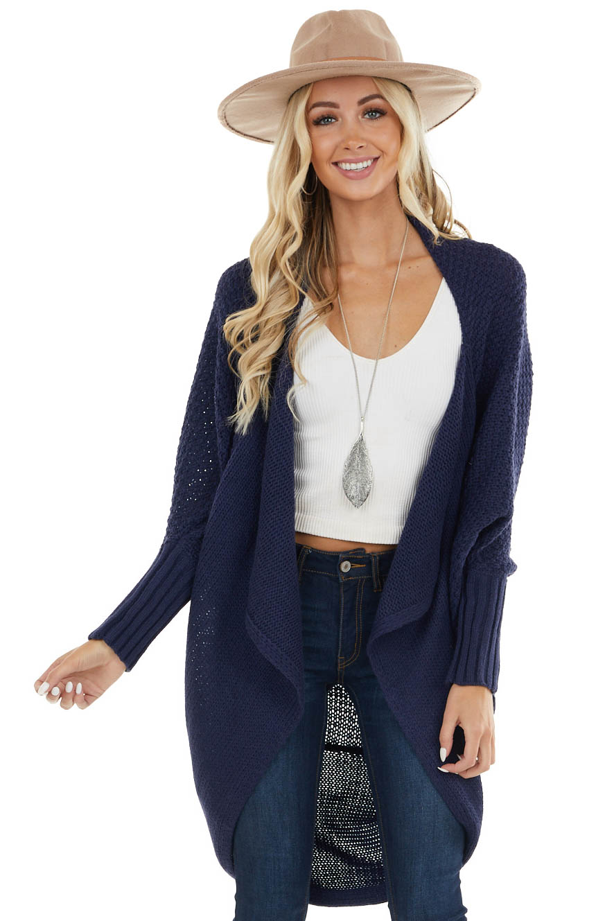 Navy Chunky Knit Cocoon Cardigan with Long Dolman Sleeves