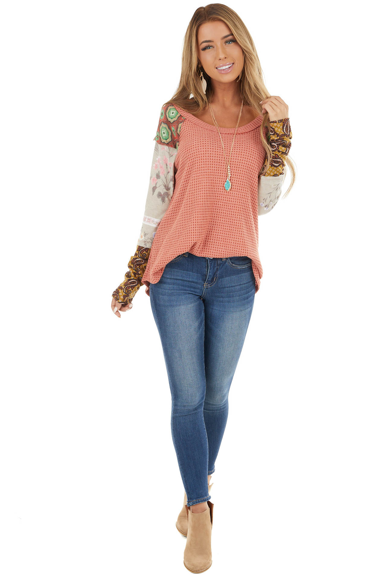 Salmon and Rust Knit Top with Contrast Multi Print Sleeves