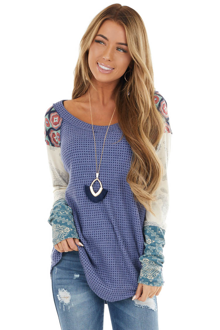 Navy Blue Waffle Knit Top with Contrast Multi Print Sleeves