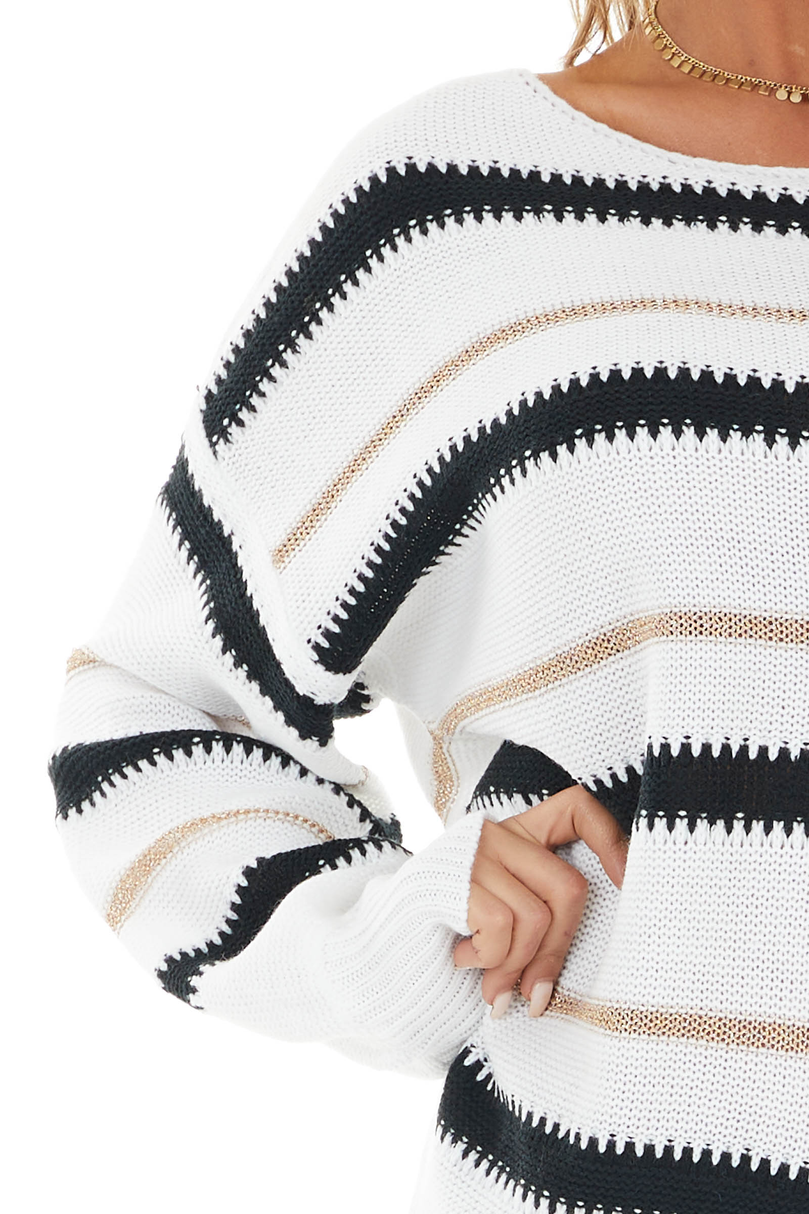 White Stripe Print Knit Sweater with Black and Gold