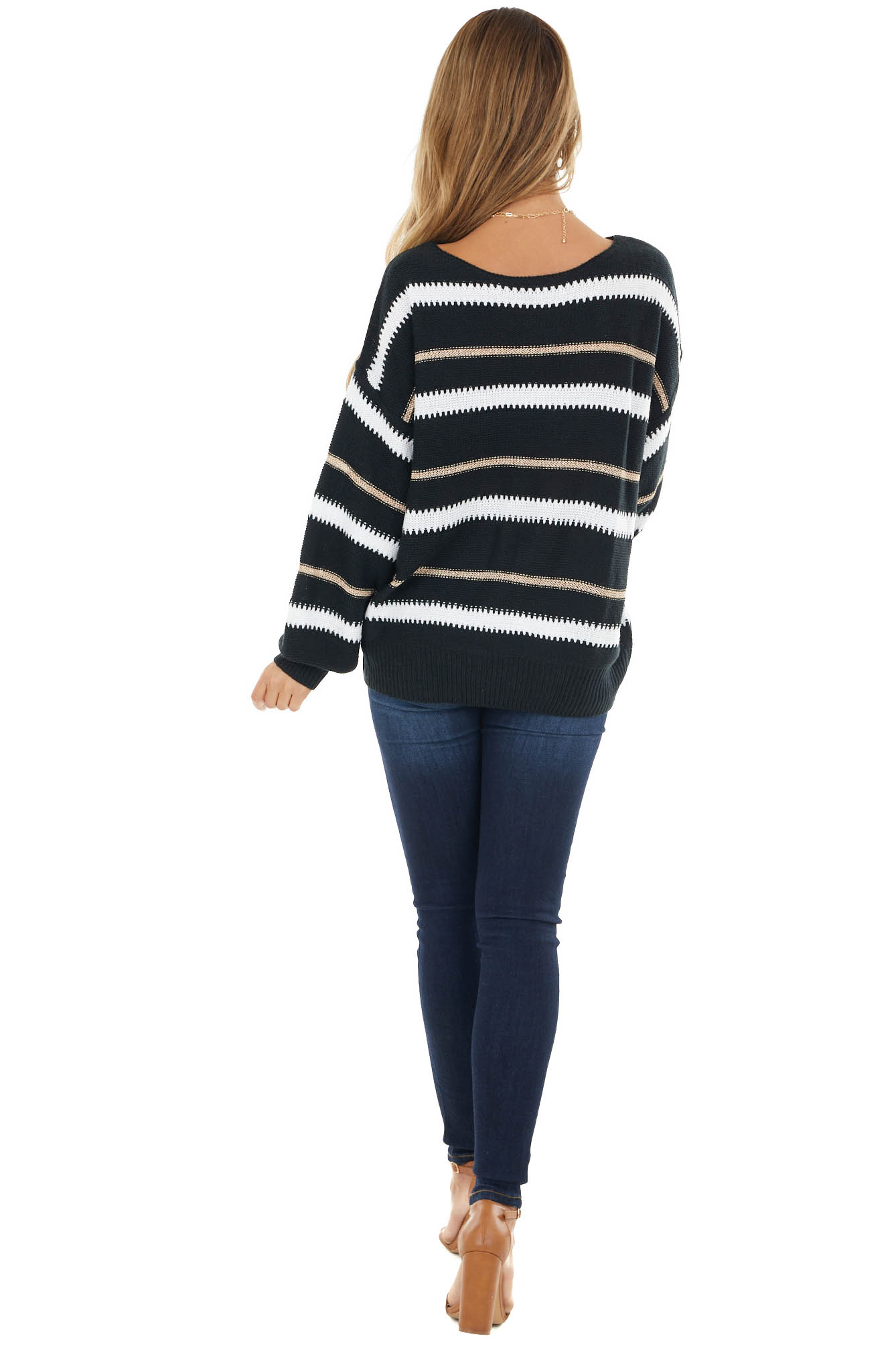 Black Stripe Print Knit Sweater with White and Rose Gold