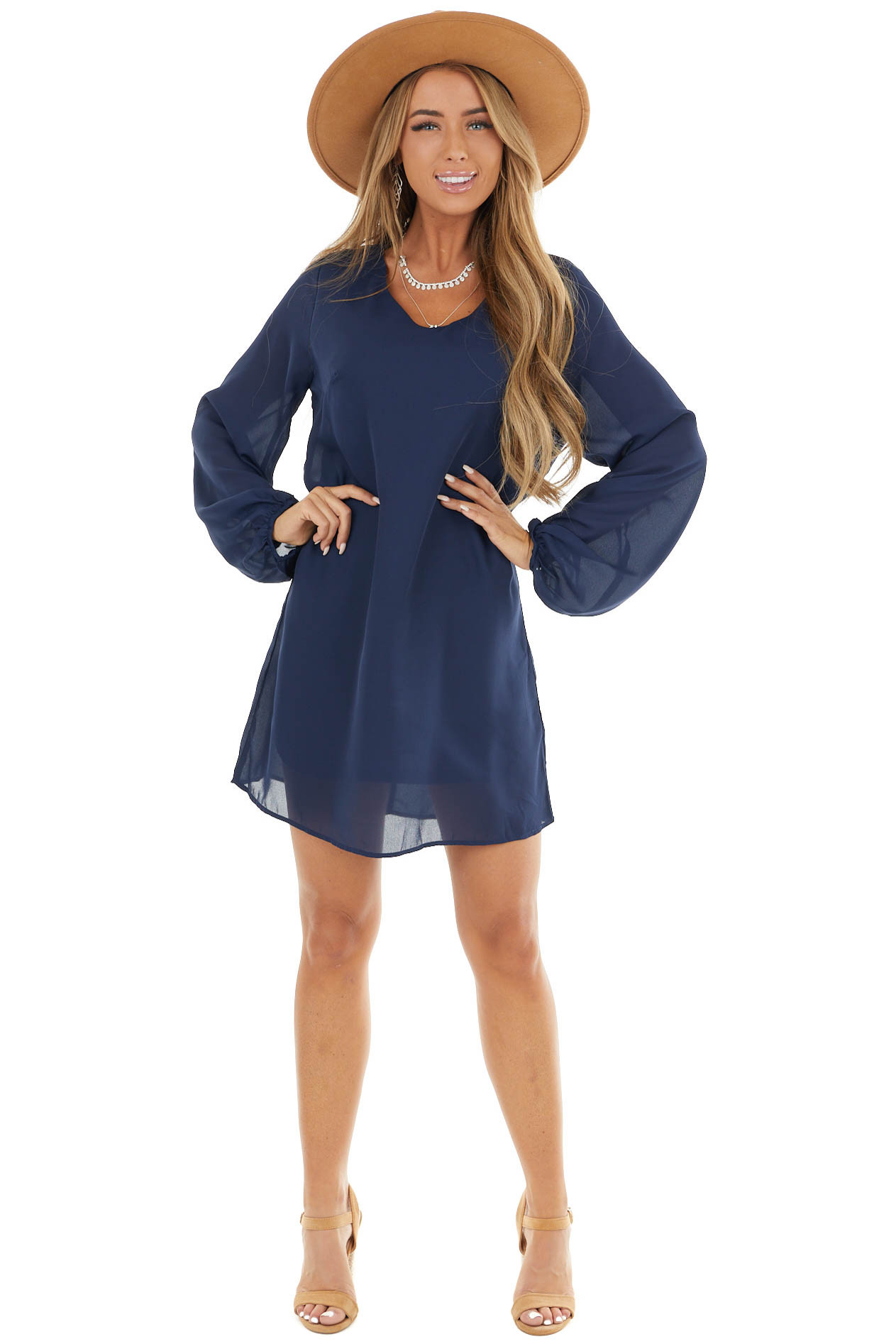 Navy Woven Shift Mini Dress with Long Bubble Sleeves