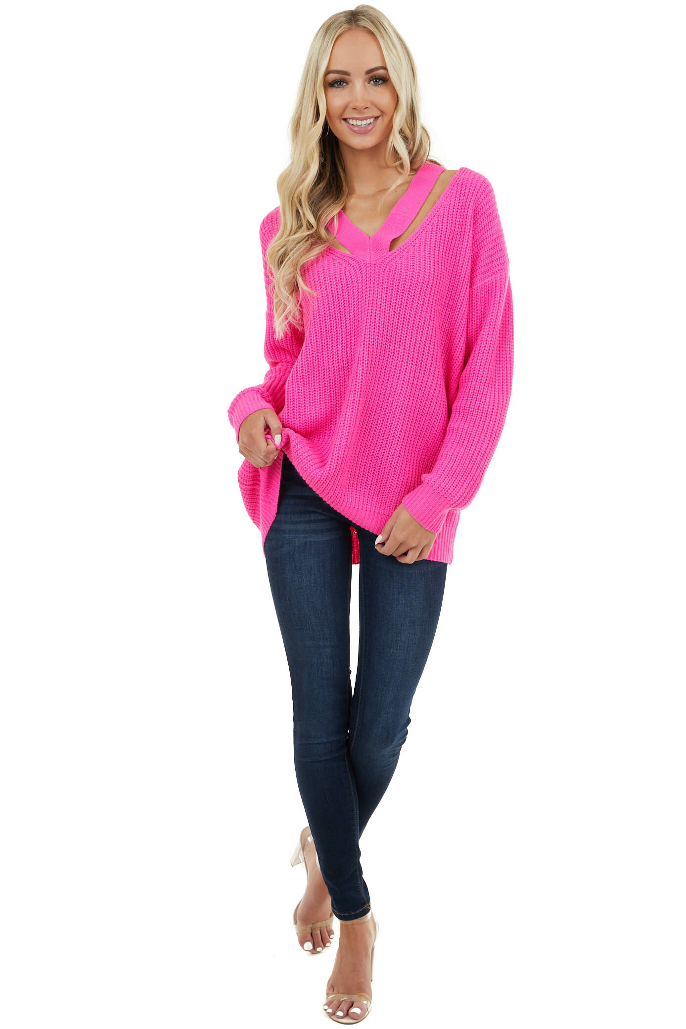 Hot Pink Chunky Knit Sweater with V Neckline and Cutouts