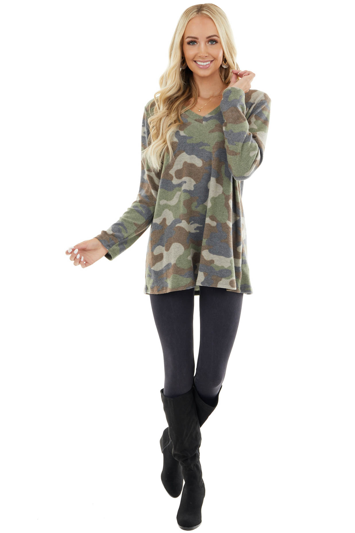 Olive Camo Fuzzy Knit Top with Long Sleeves