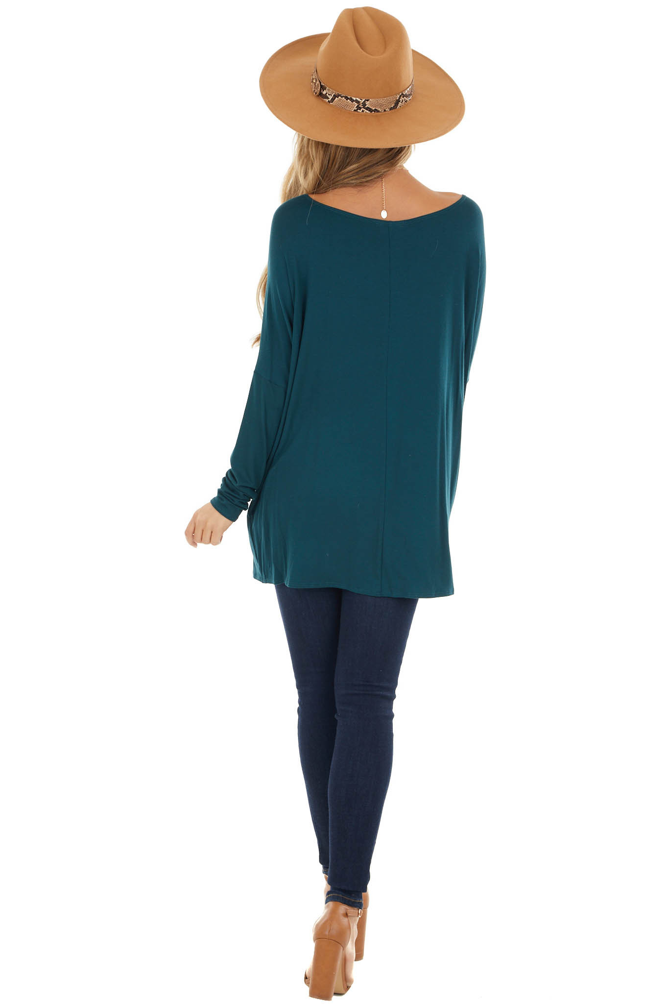 Pine Long Sleeve Knit Top with Off Shoulder Neckline
