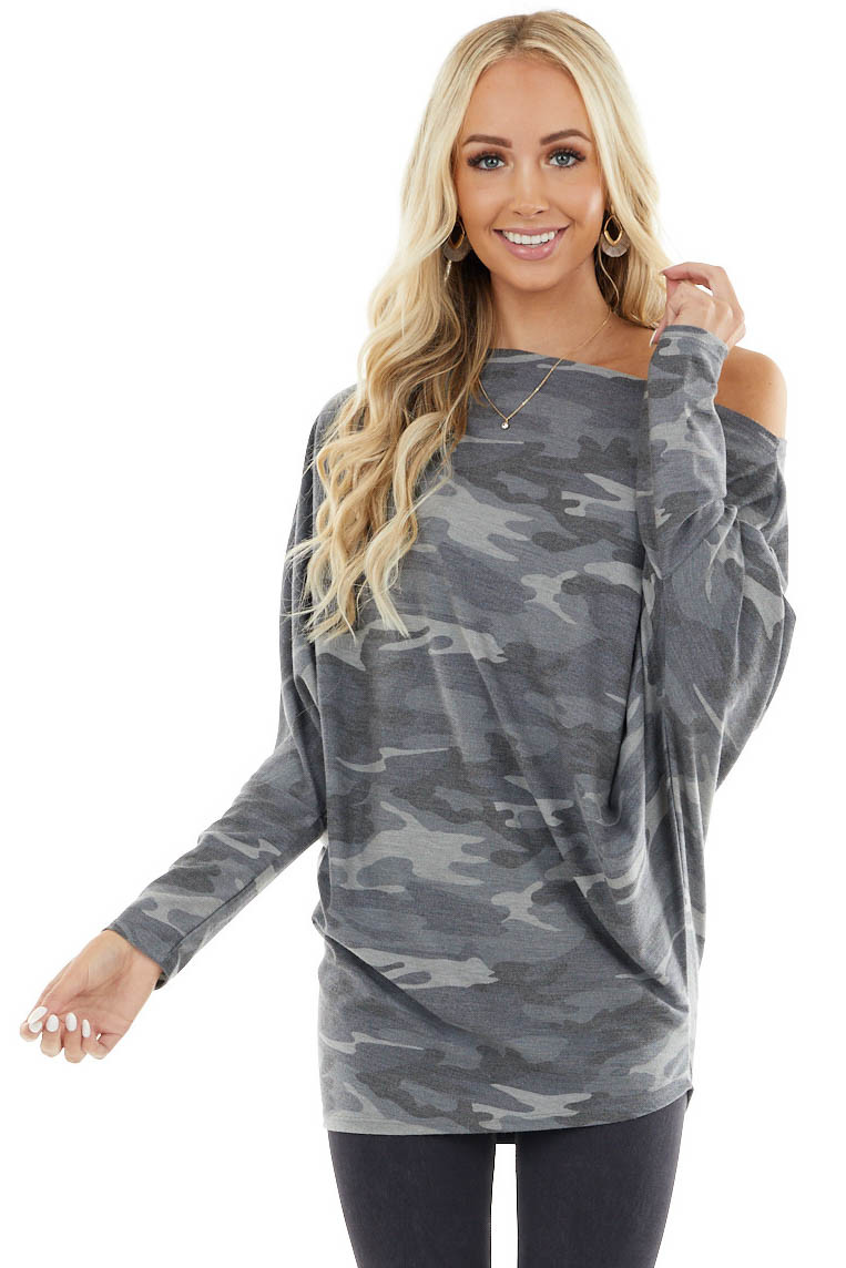 Charcoal Camo Print Off the Shoulder Top with Dolman Sleeves