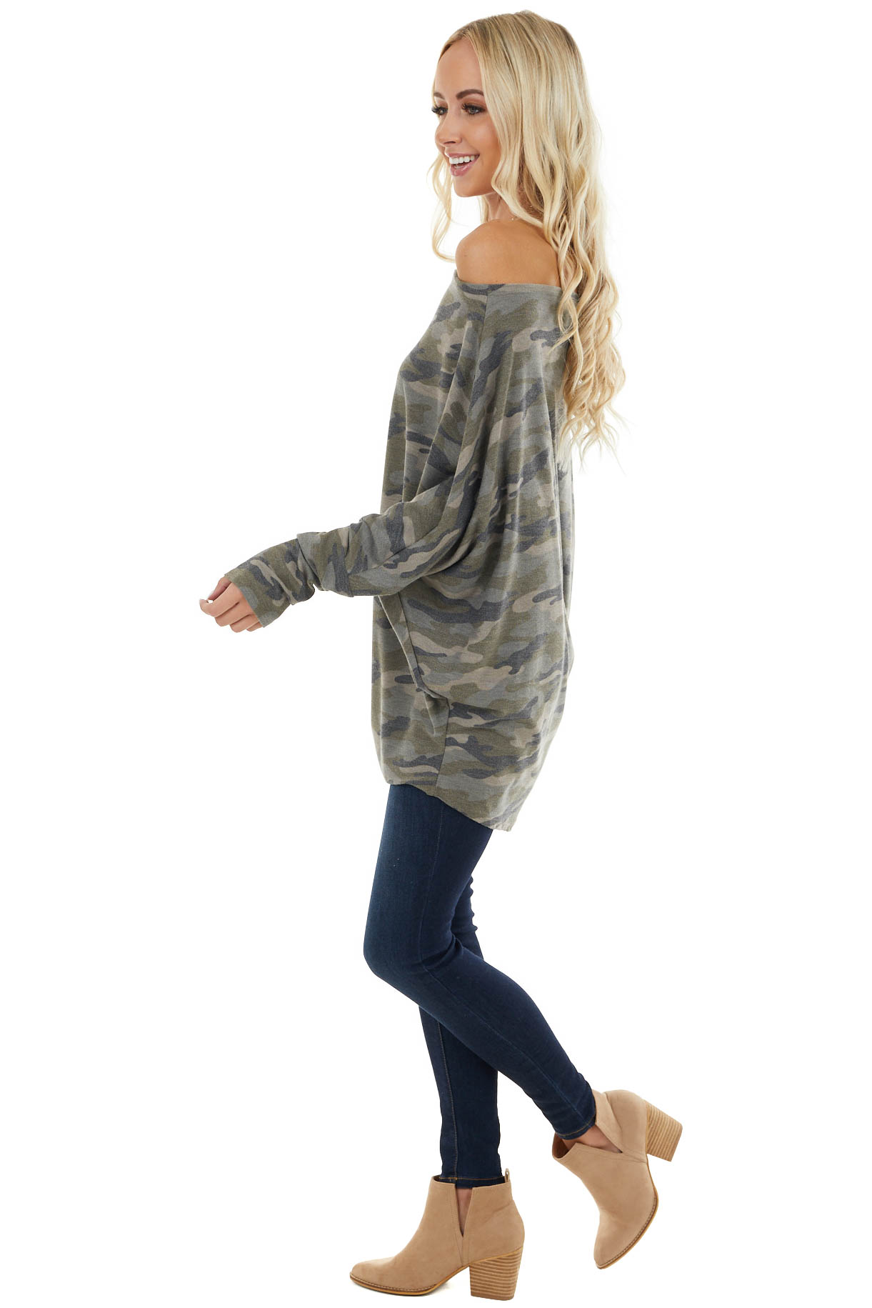 Olive Camo Print Off the Shoulder Top with Dolman Sleeves