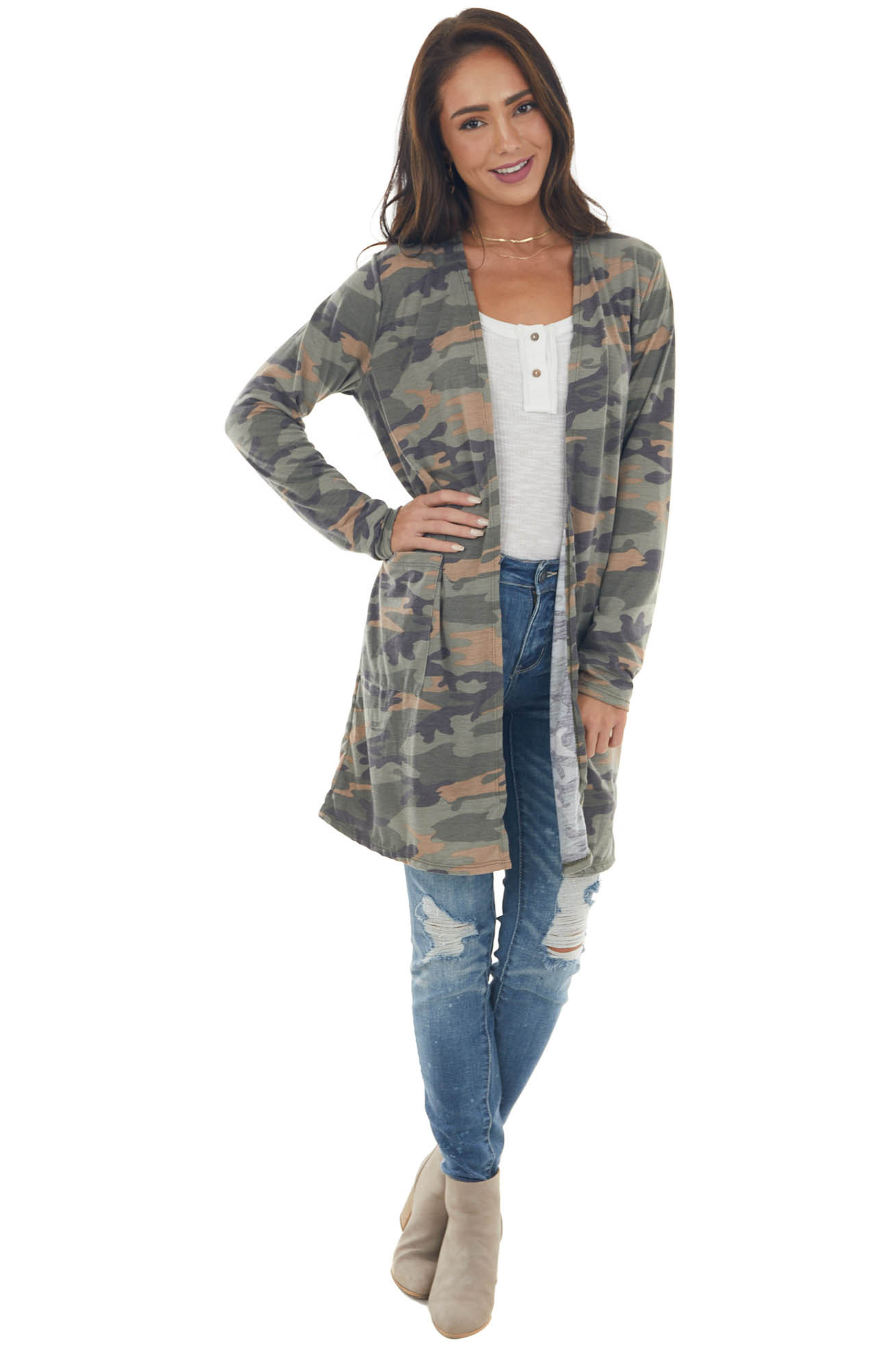 Olive and Desert Sand Camo Open Front Cardigan with Pockets