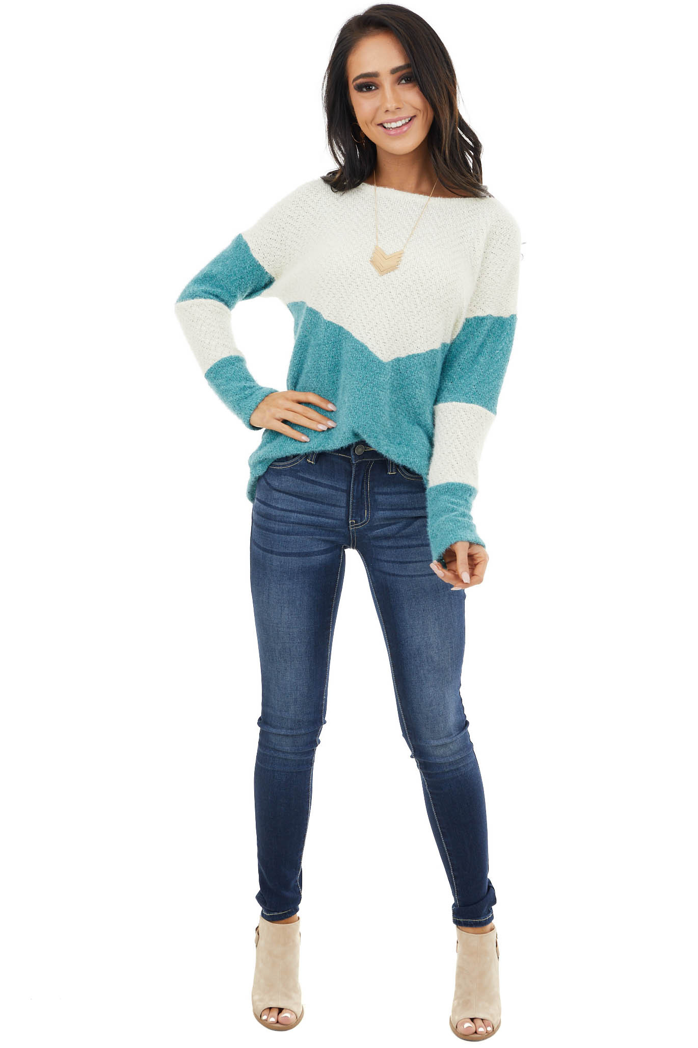 Teal and Cream Colorblock Sweater with Loose Knit Detail