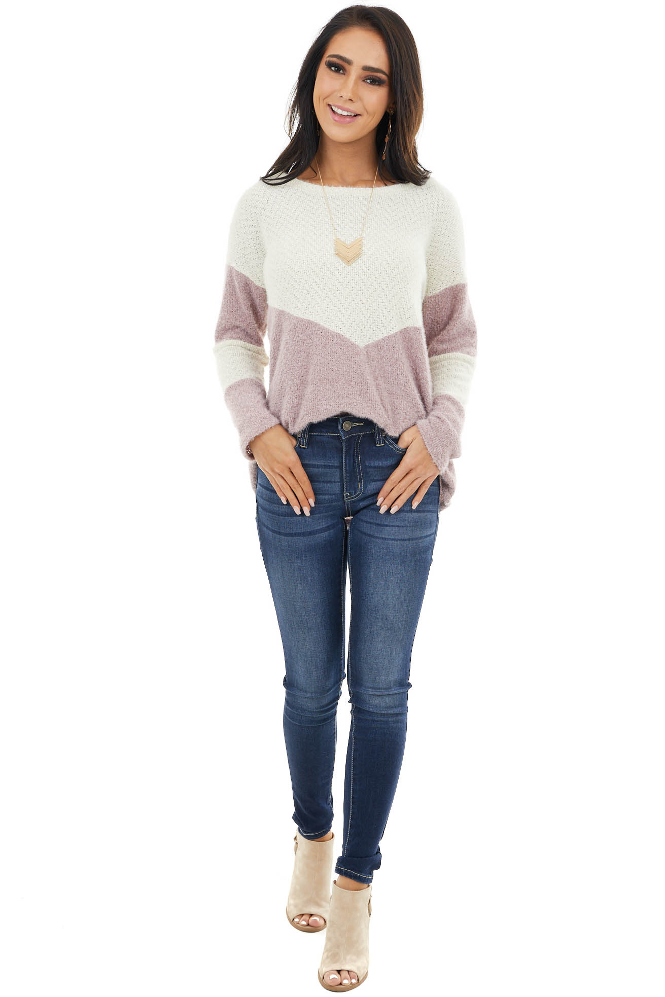 Mauve and Cream Colorblock Sweater with Loose Knit Detail