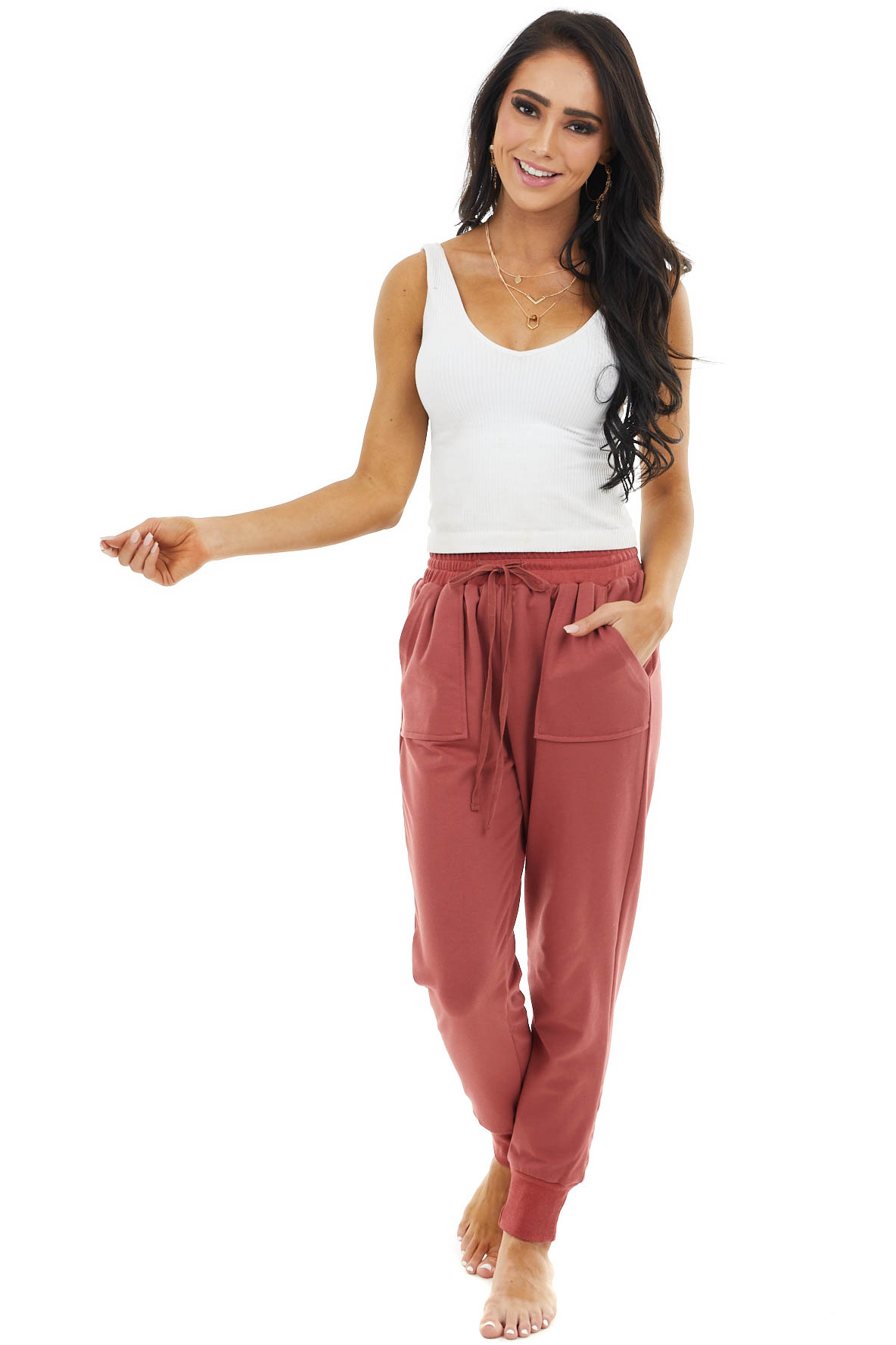 Brick Solid Stretchy Knit Jogger Pants With Pockets