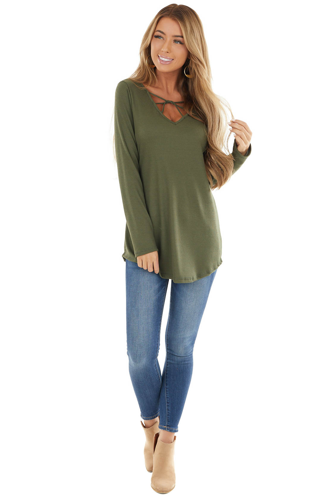 Olive Green Ribbed Long Sleeve Knit Top with Caged Neckline