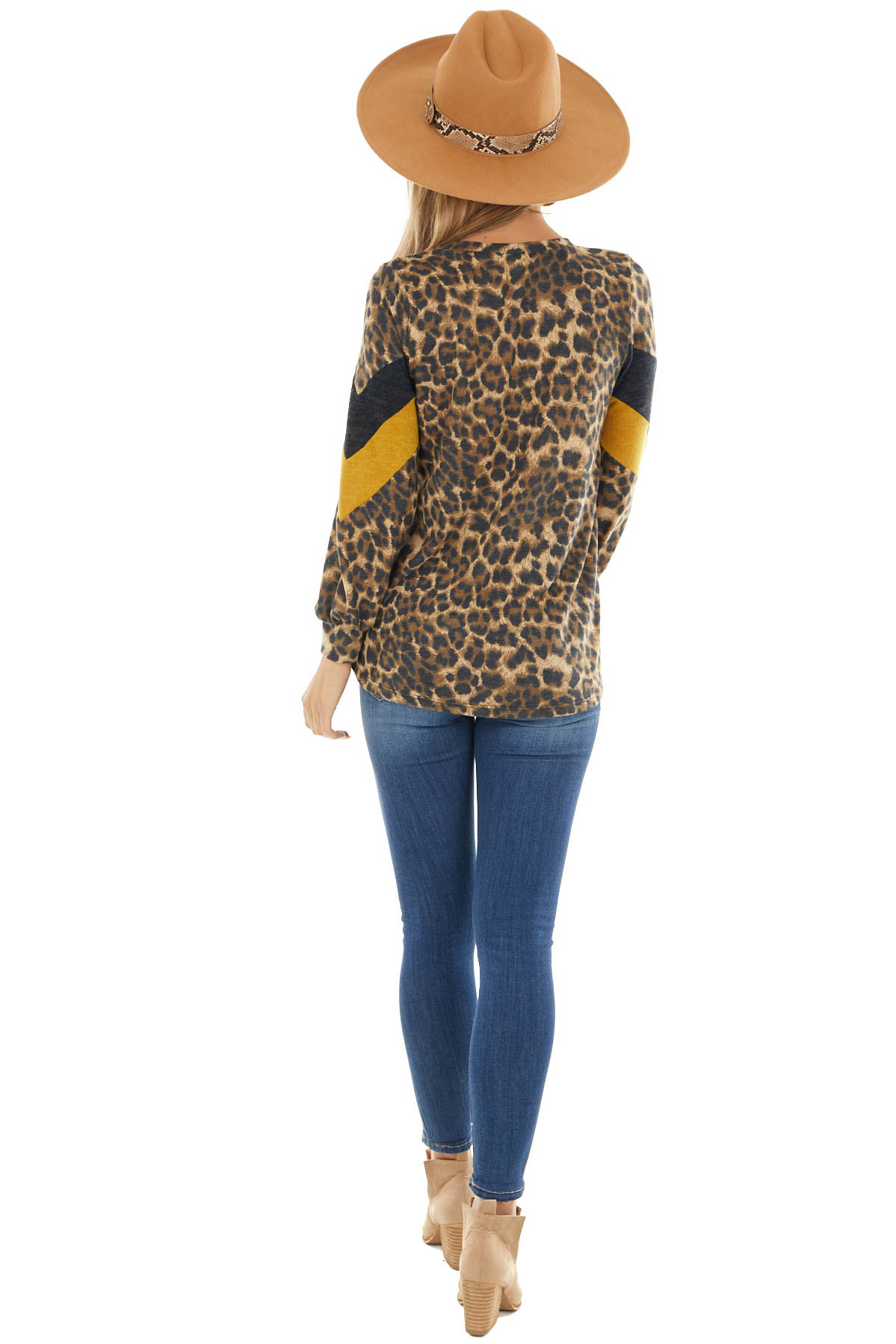 Camel Leopard Print Bubble Sleeve Top with Chevron Detail