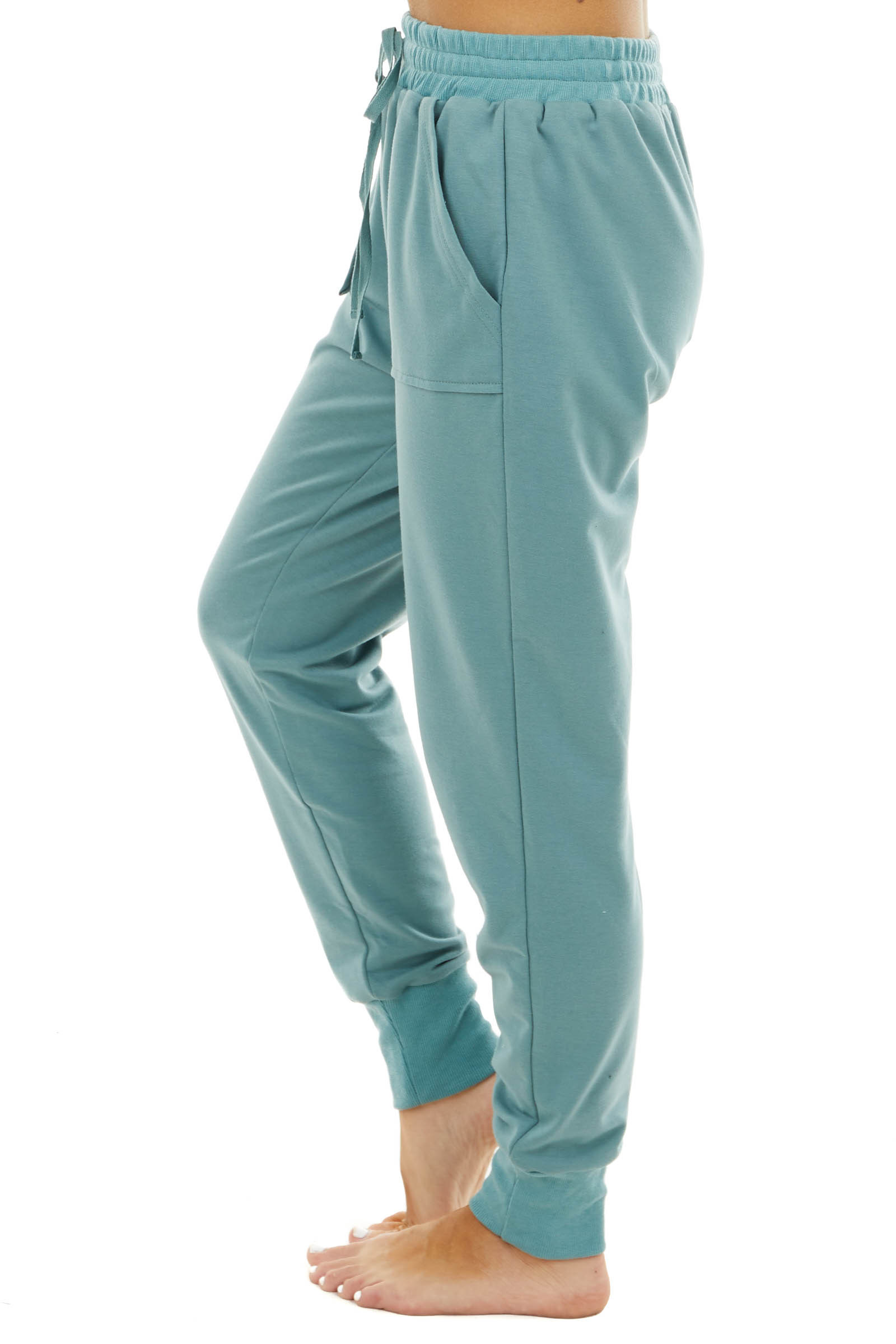 Dusty Sage Solid Stretchy Knit Jogger Pants With Pockets